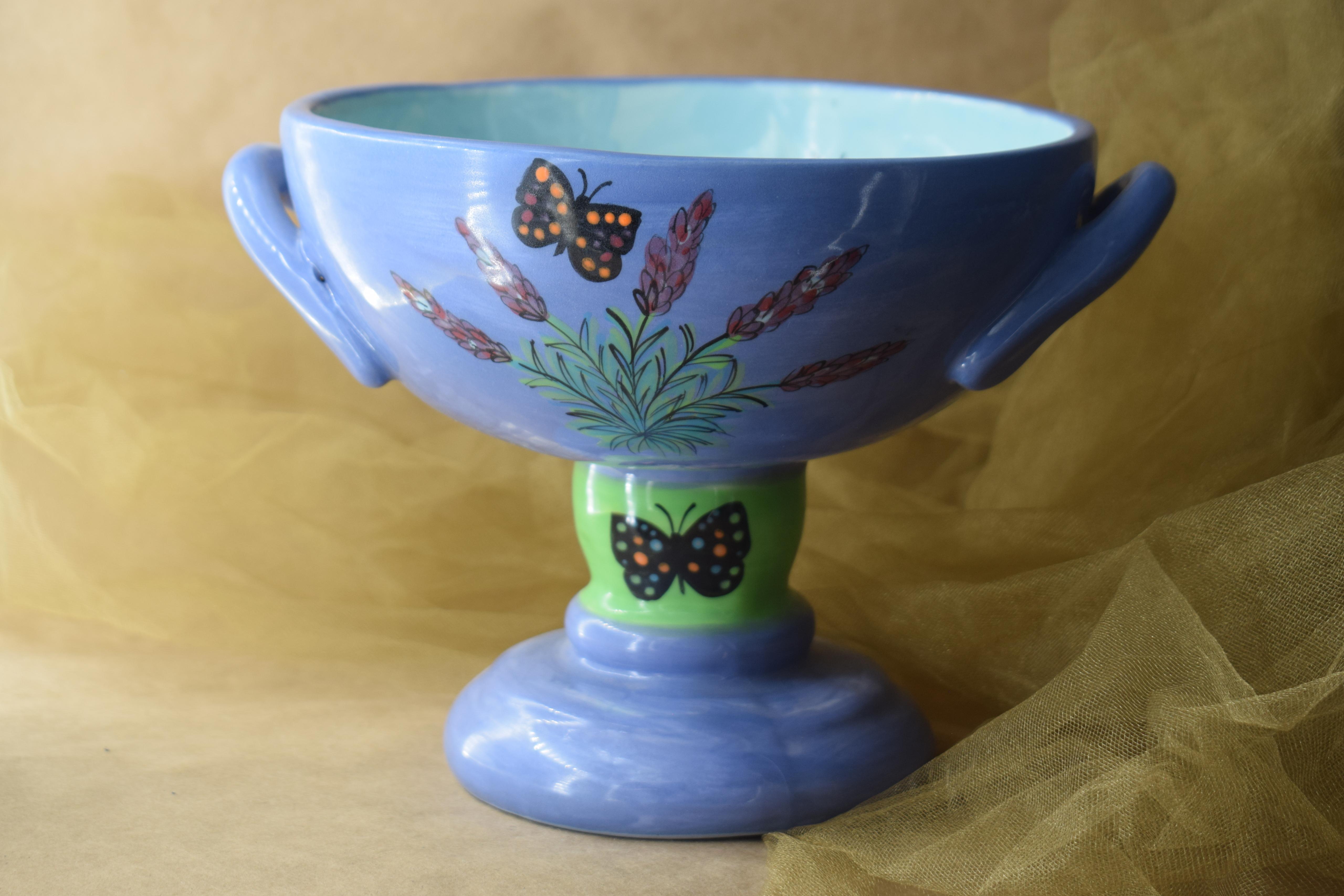 """(CM08-EL) 8"""" Grecian Compote- English Lavender"""