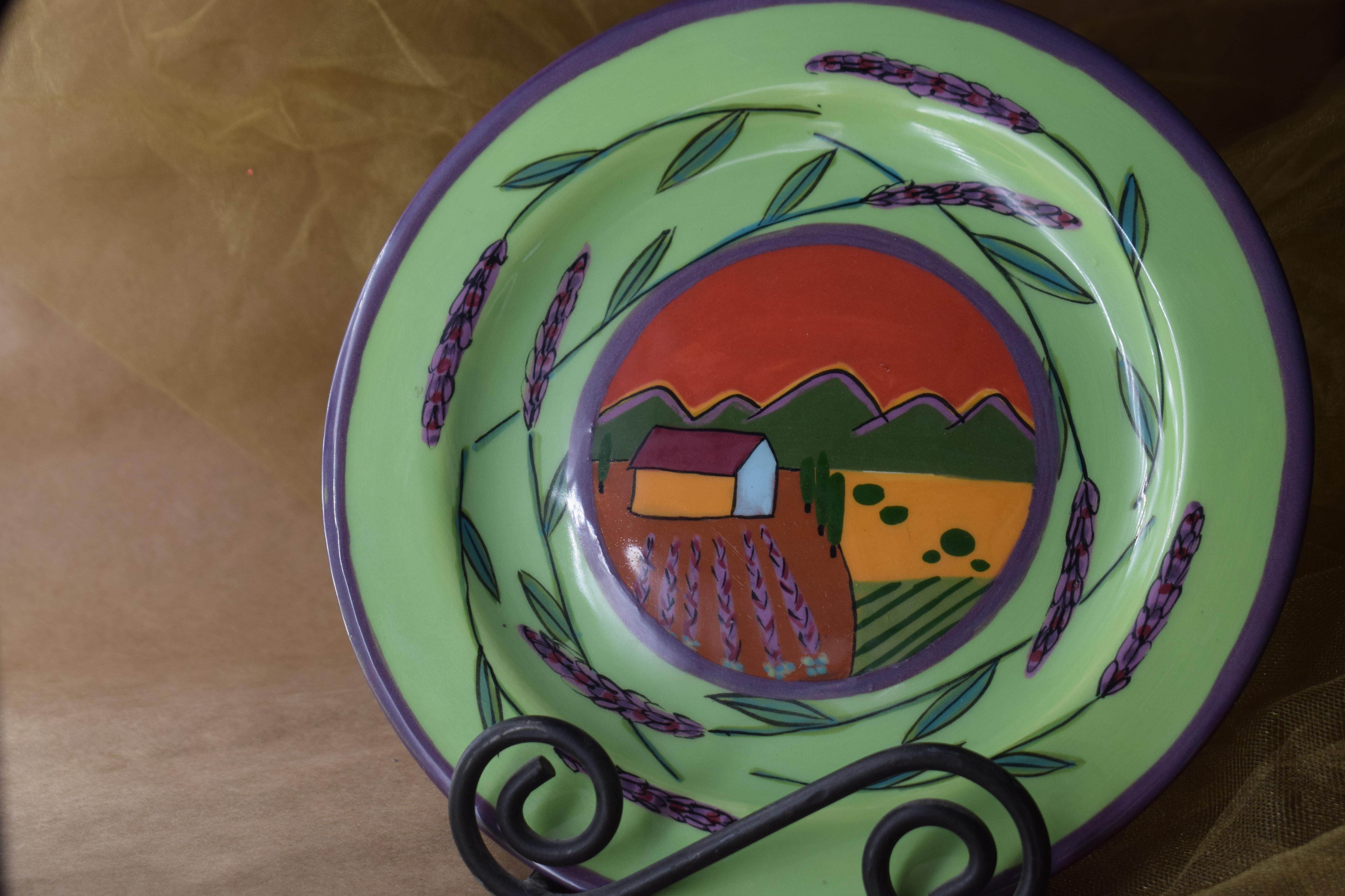 """(DP08-GLS) 8"""" Dinner Plate- Green Lavender Scene"""