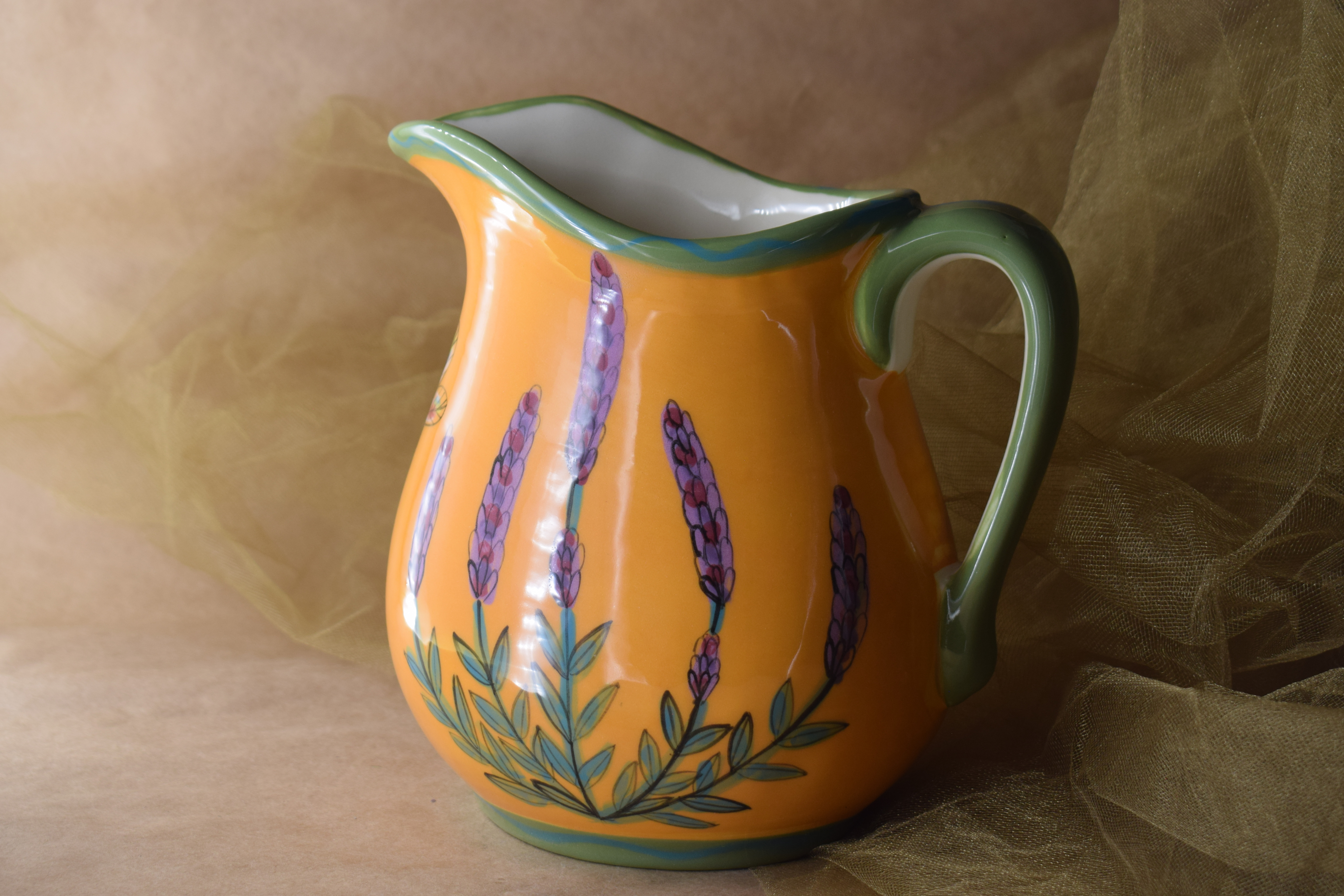 (MP10-YLD) Medium Pitcher- Yellow Lavender with Dragonfly