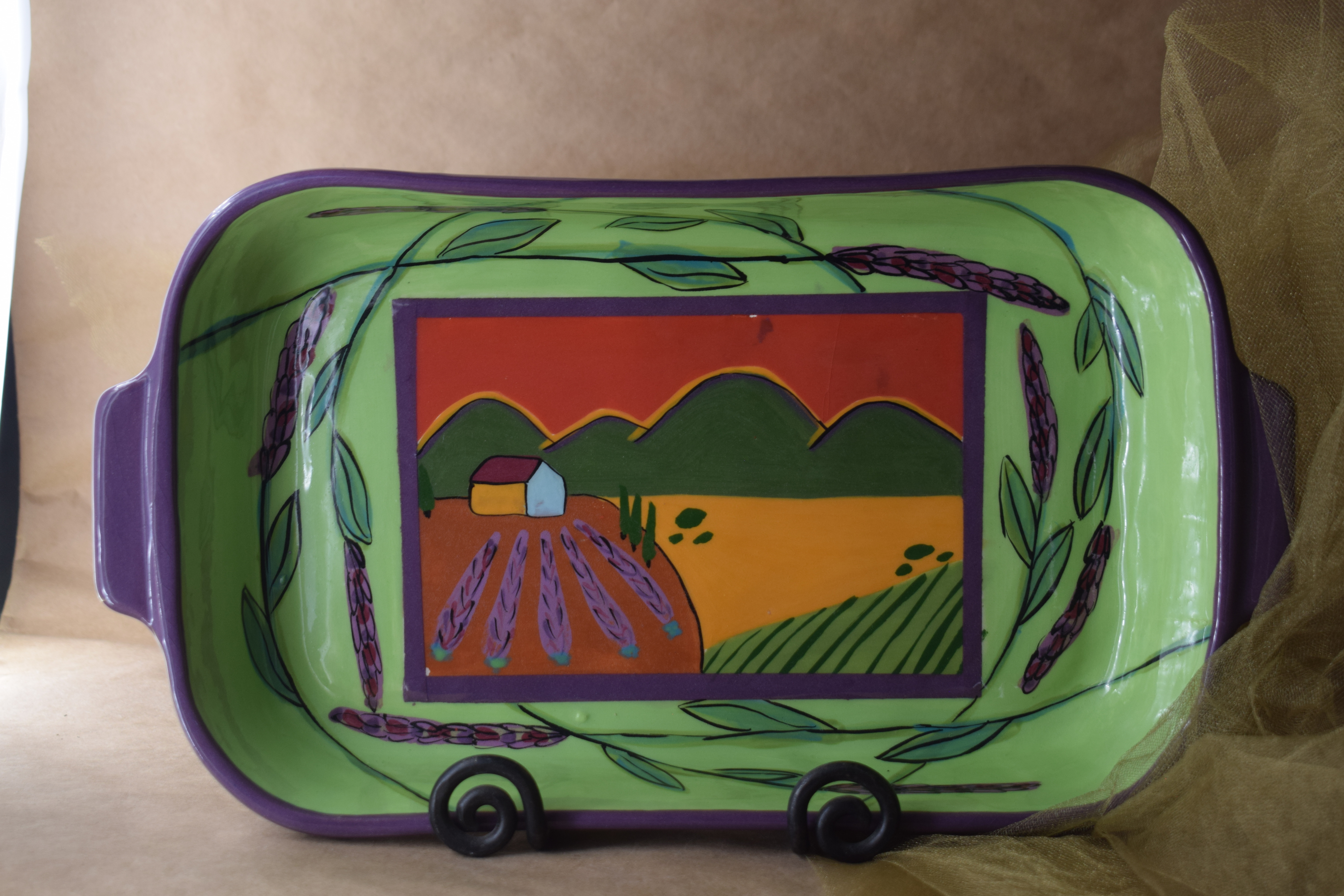 "(RBD11-GLS) 11"" Rectangular Baking Dish- Green Lavender Scene"