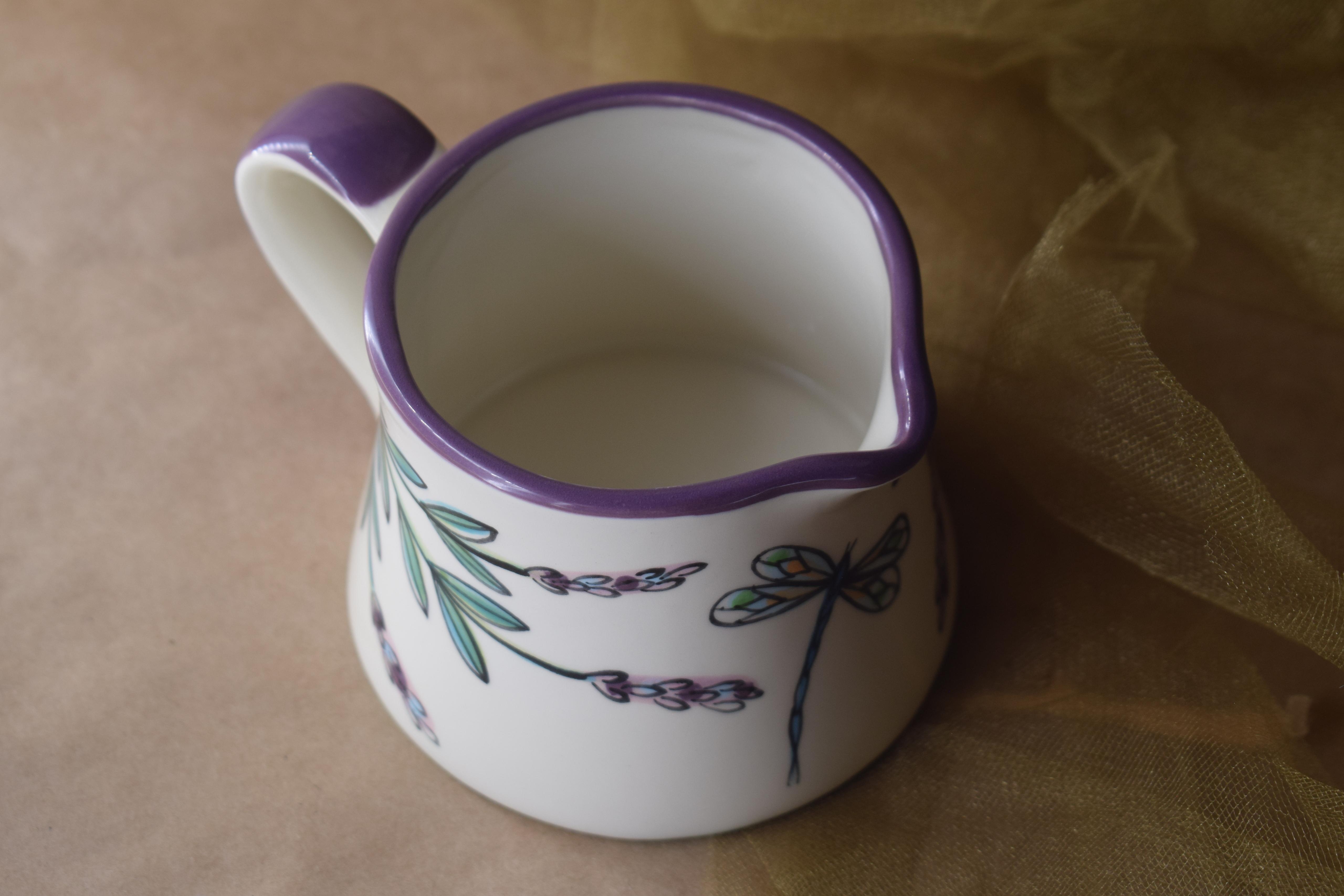 (BI-CREAMER-WLD) Creamer- White Lavender with Dragonfly