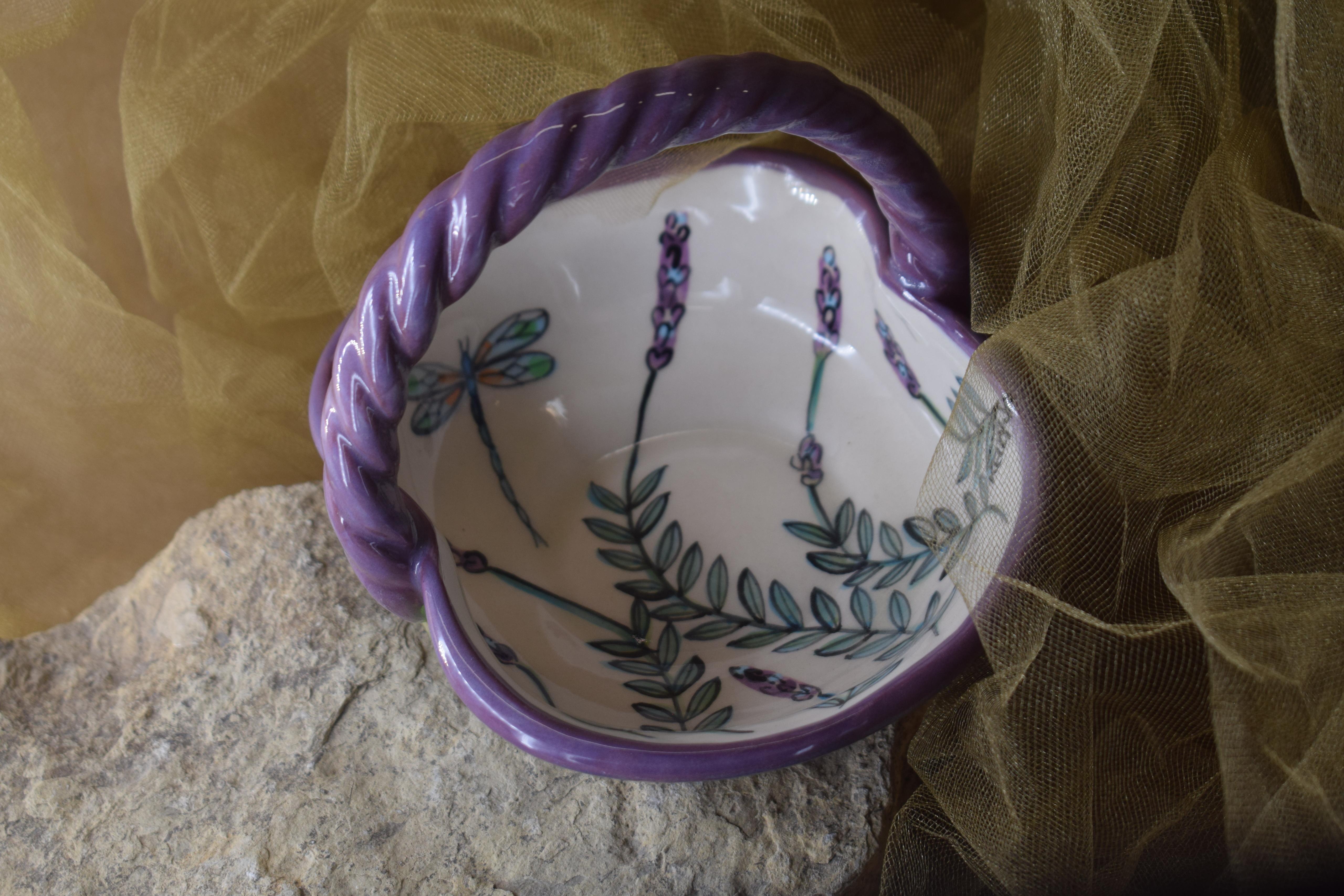 (BI-BS05-WLD) Basket Bowl- White Lavender with Dragonfly