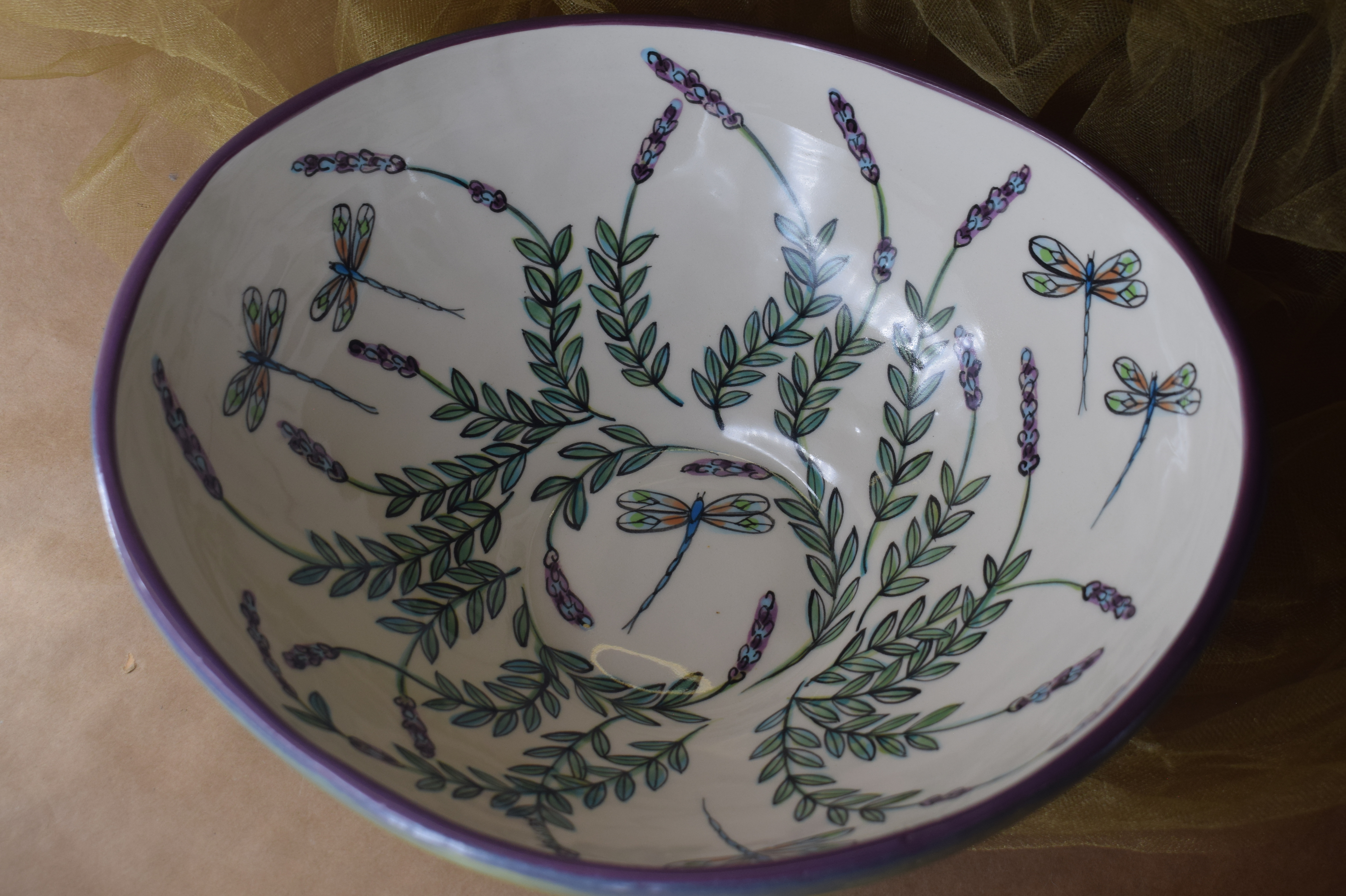 """(LB22-WLD) 10""""x 11"""" Funky Bowl- White Lavender with Dragonfly"""