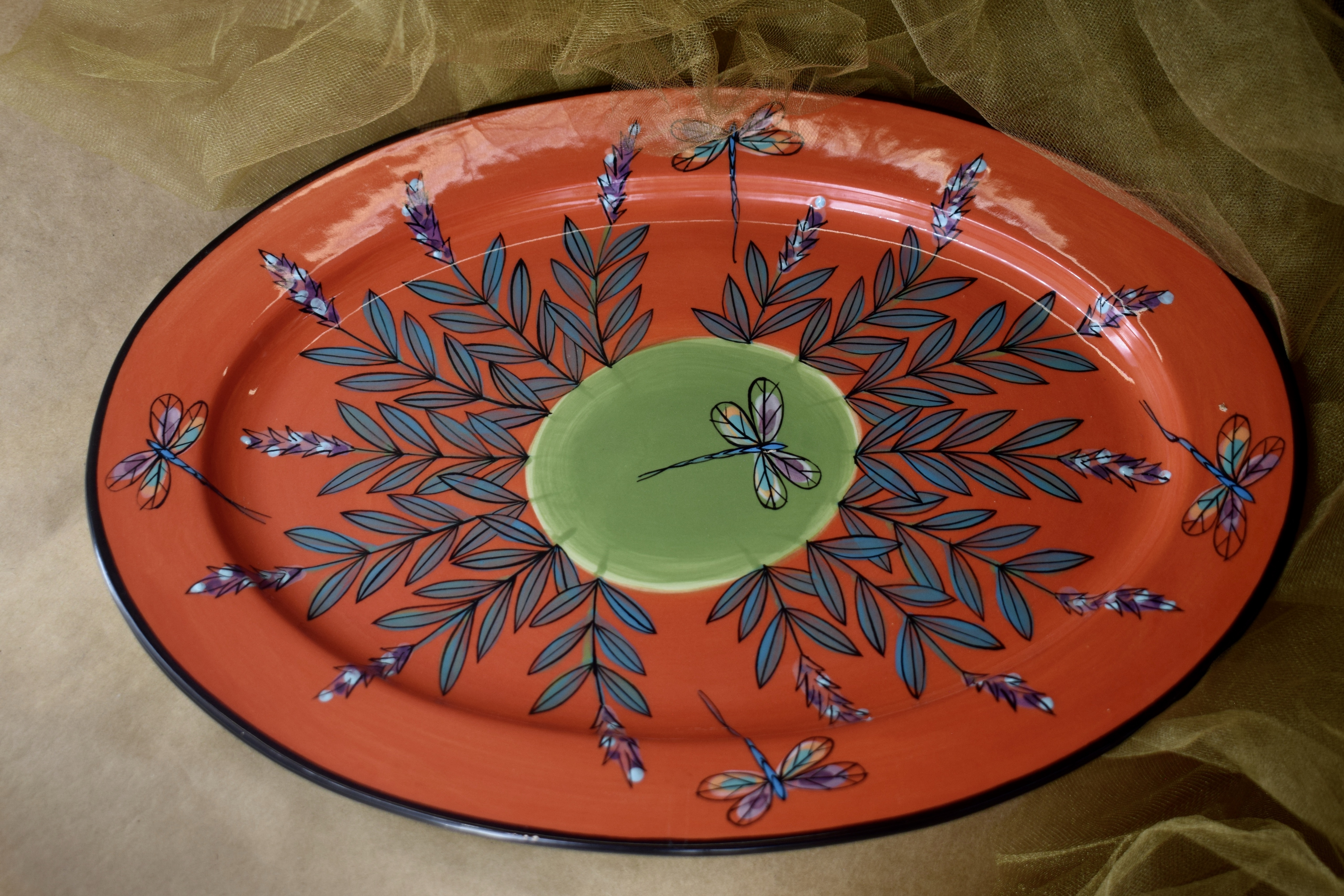 """(OP15-RIM-RLD) 15"""" Oval Platter with Rim- Red Lavender with Dragonfly"""