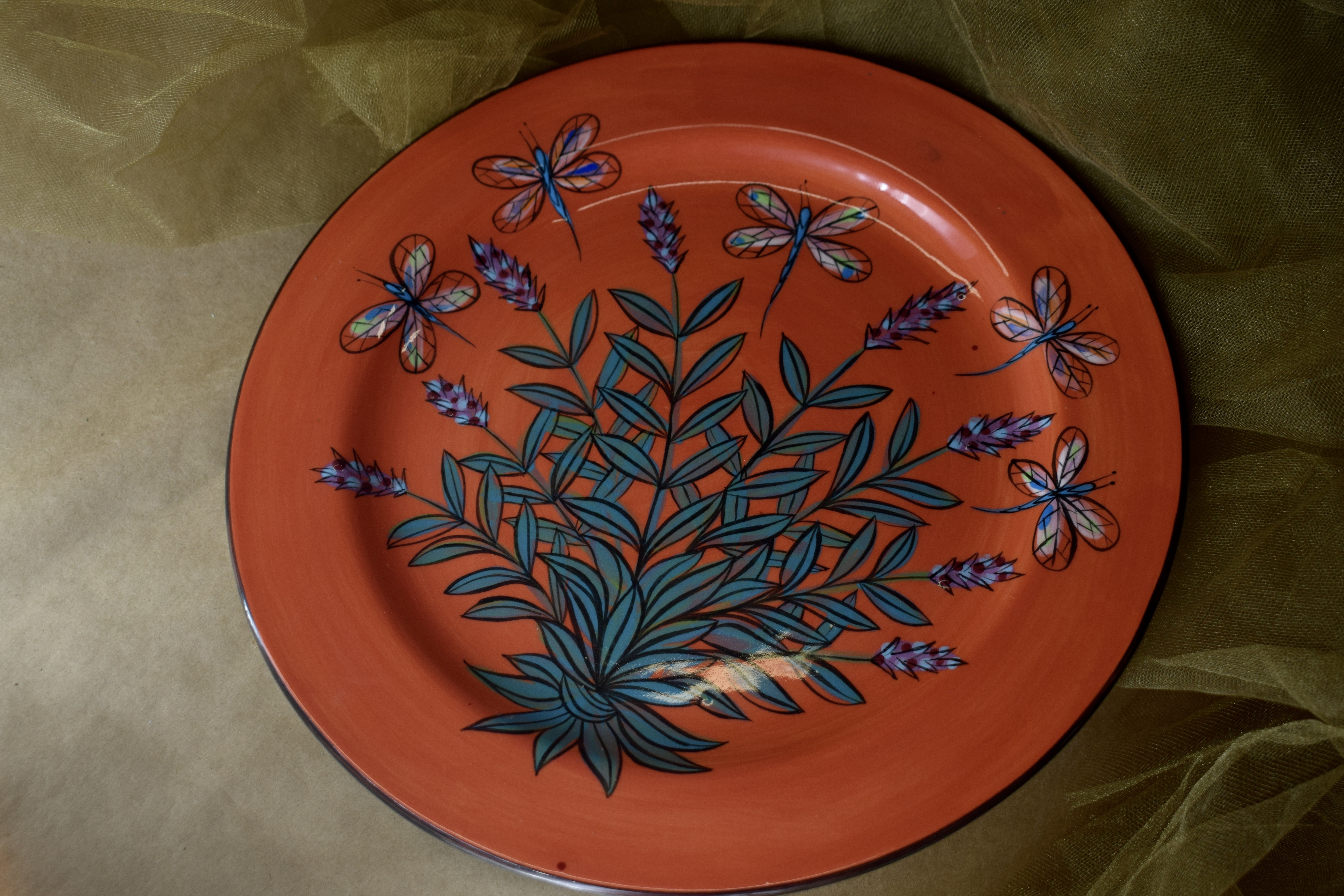 """(DP12-RLD) 12"""" Dinner Plate- Red Lavender with Dragonfly"""