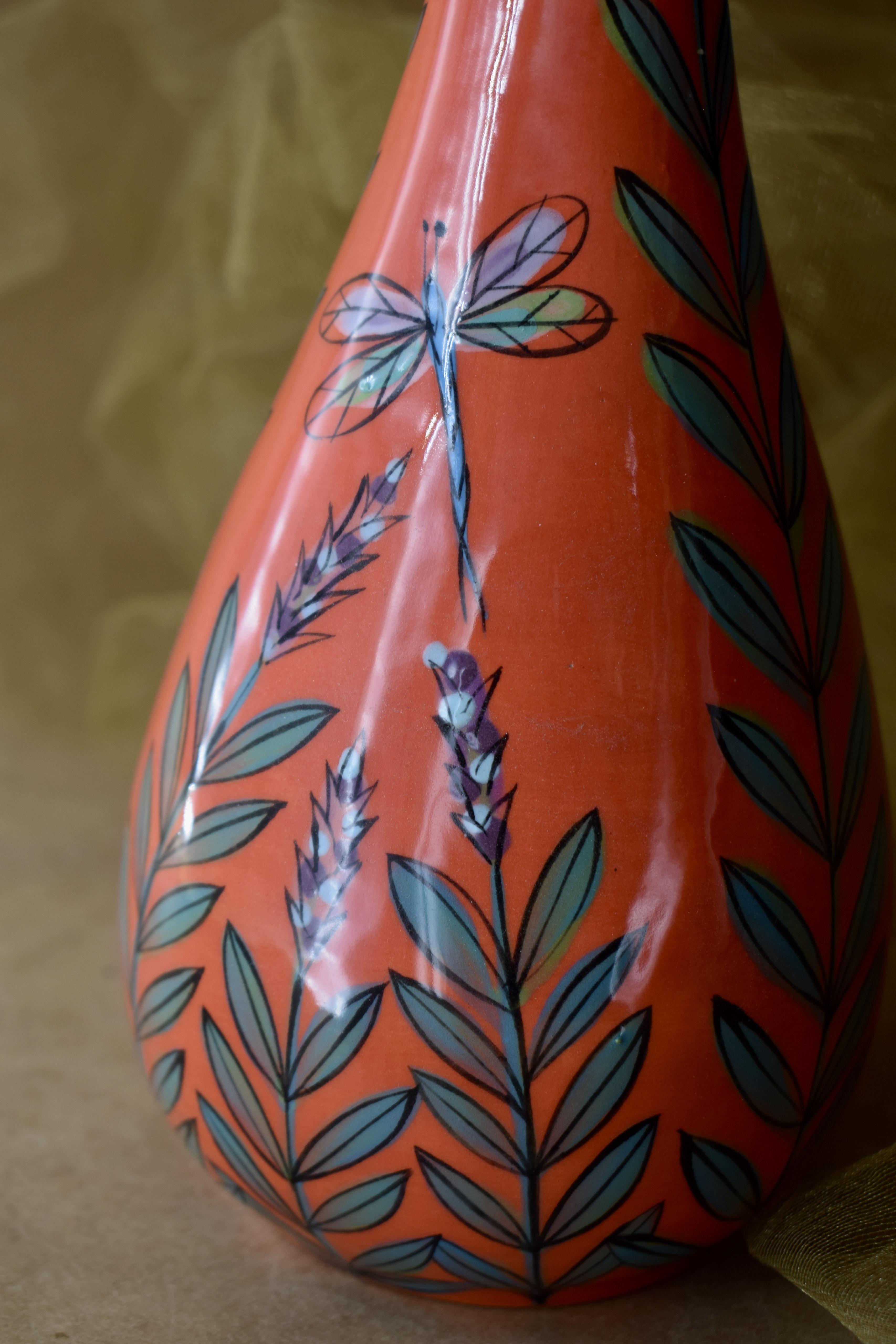 "(TV14-RLD) 14"" Skinny Vase- Red Lavender with Dragonfly"