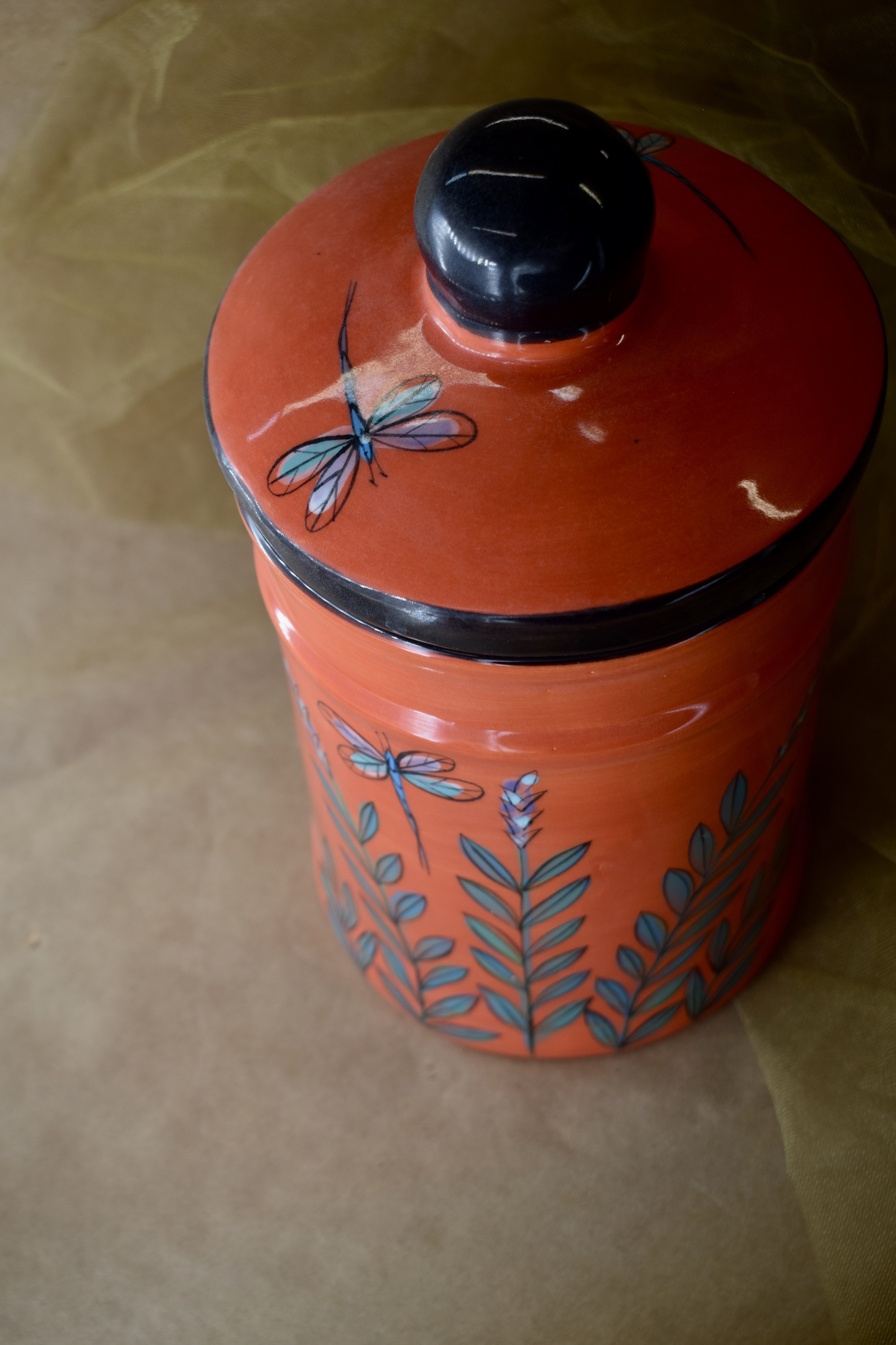 """(LC10-RLD) 10"""" Large Canister- Red Lavender with Dragonfly"""