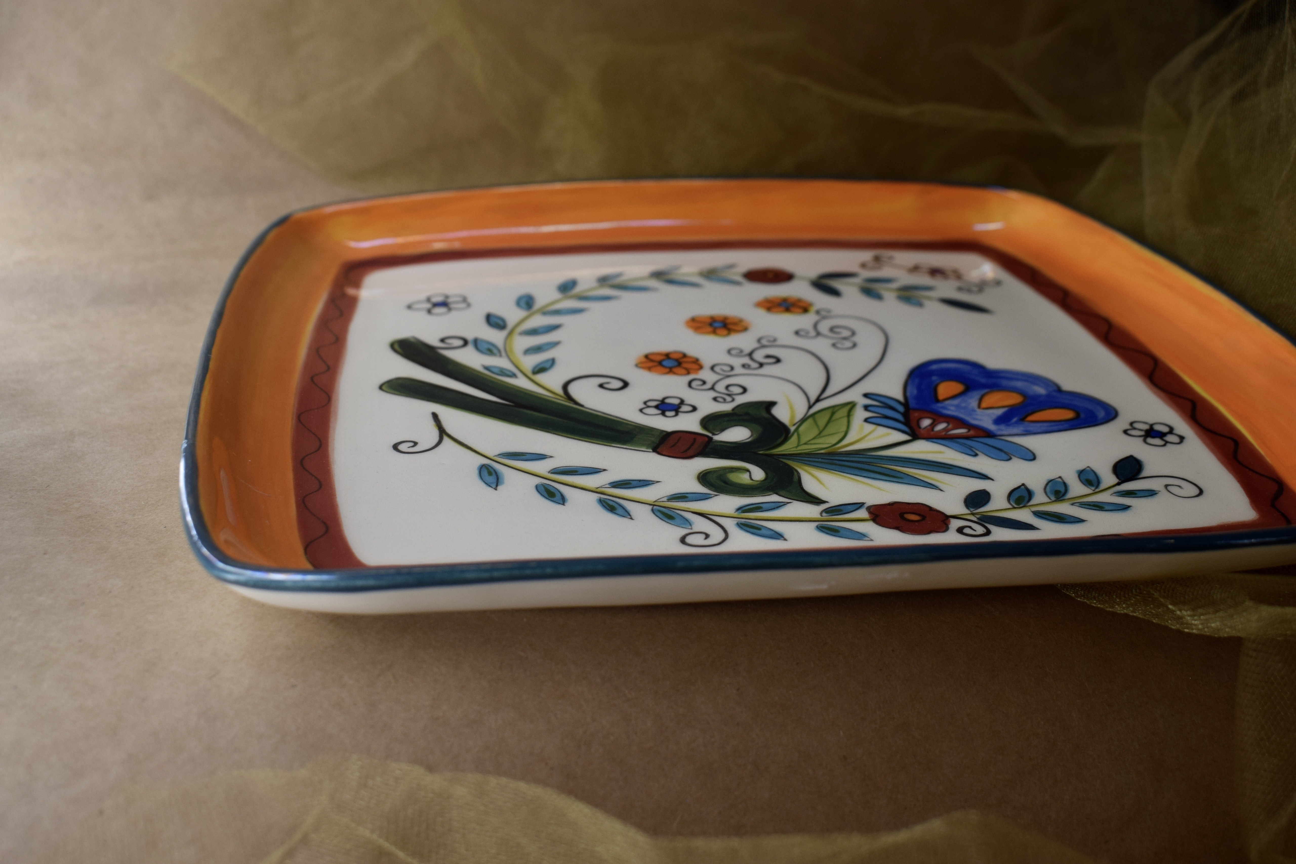 "(SP15-MNC) 12"" x 12"" Square Plate- Mandarino"