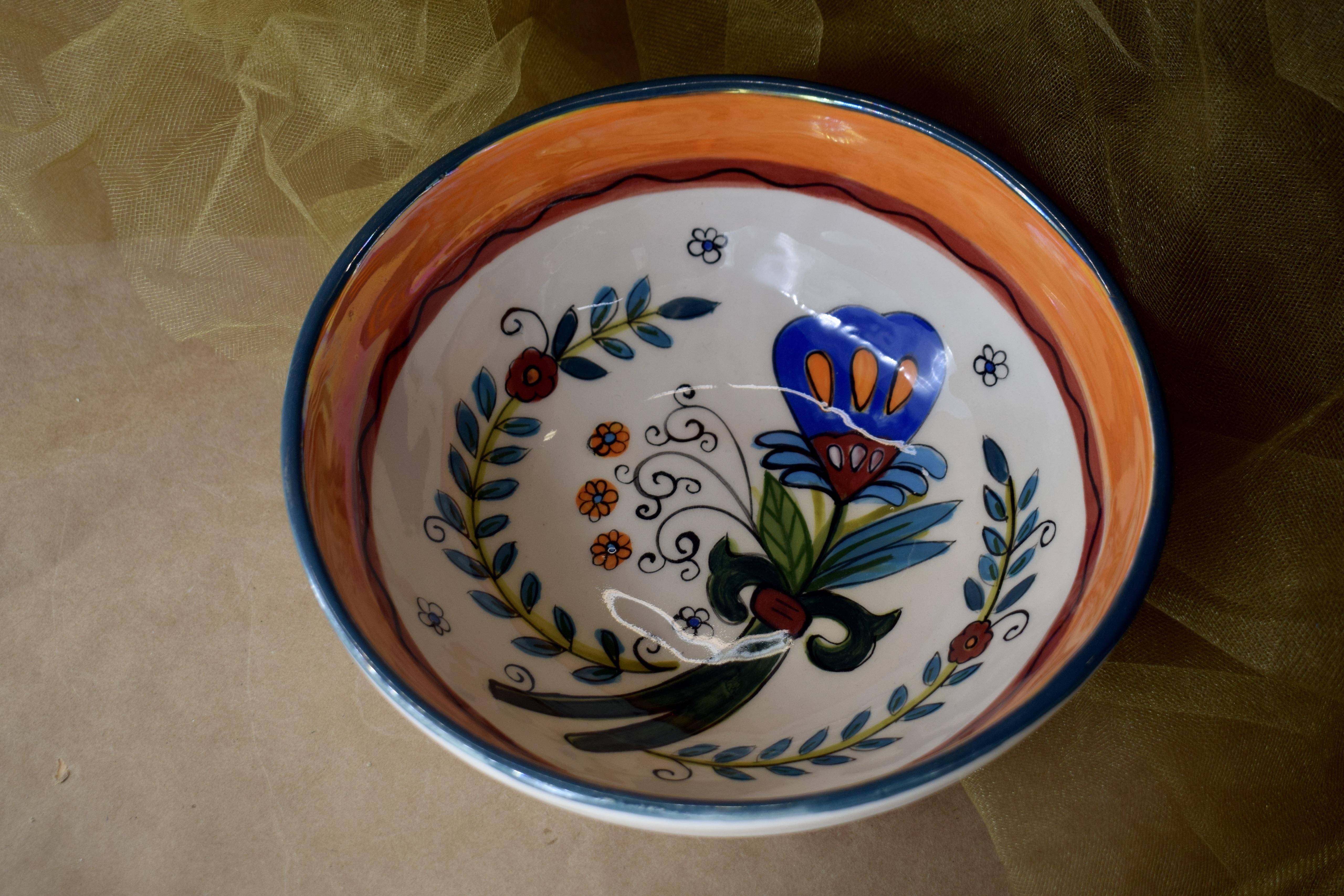 """(MB22-MNC) 8"""" Shallow Bowl- Mandarino"""