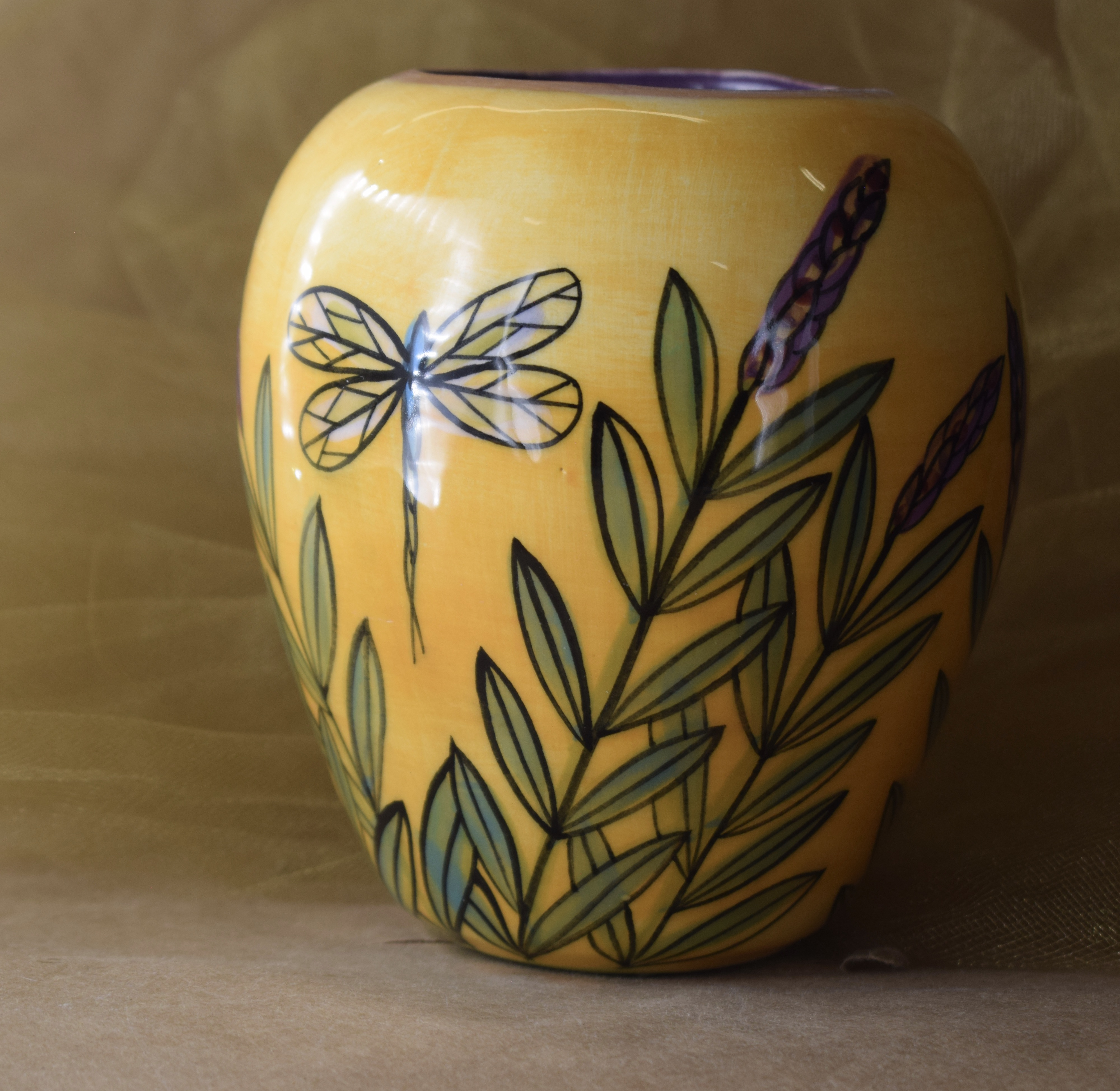 (SV21-YLD) Small Vase- Yellow Lavender with Dragonfly