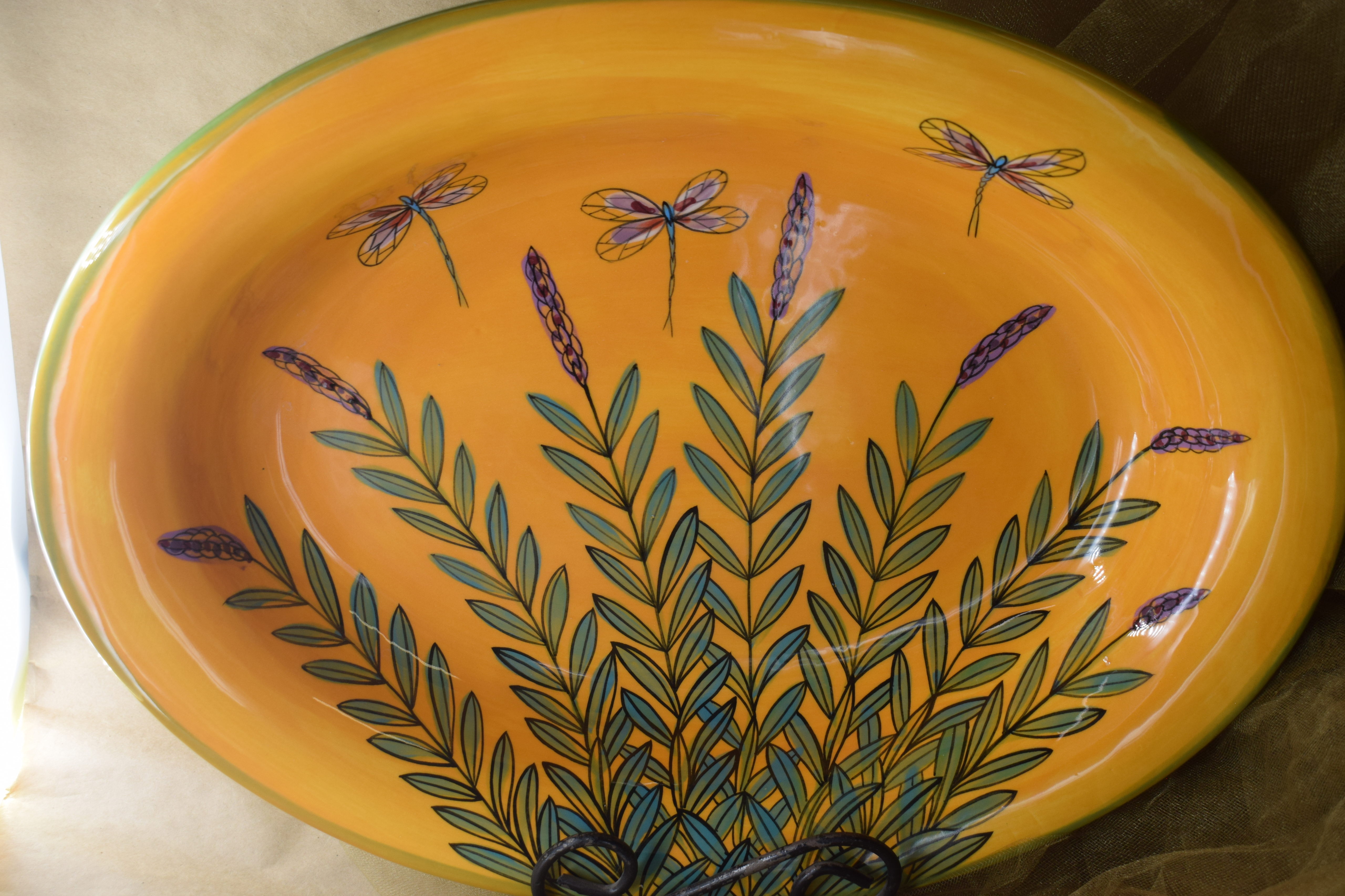 """(OB16-YLD) 16""""x13"""" Large Oval Bowl-Yellow Lavender with Dragonfly"""