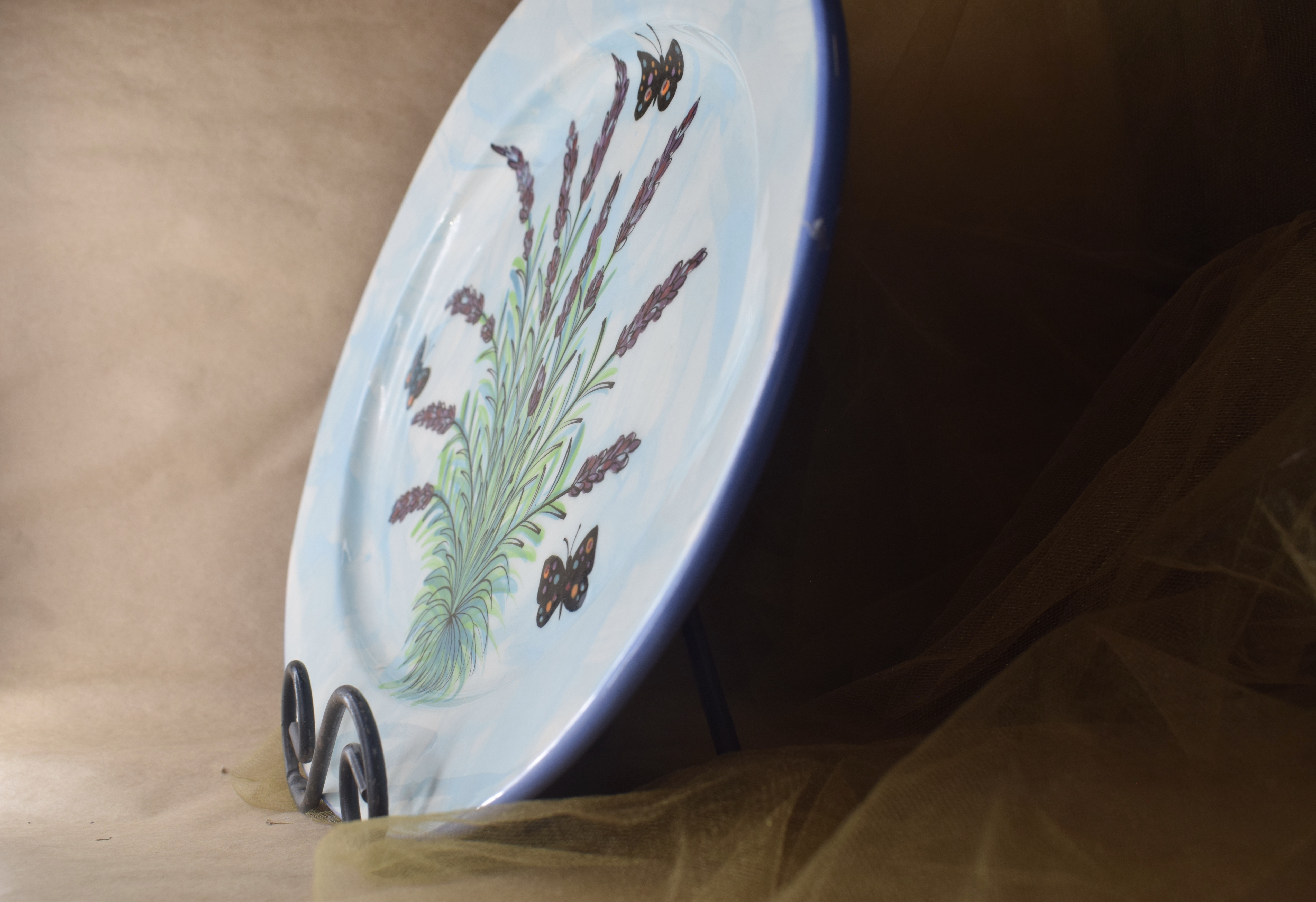 "(OP15-RIM-EL) 15"" Oval Platter with Rim- English Lavender"