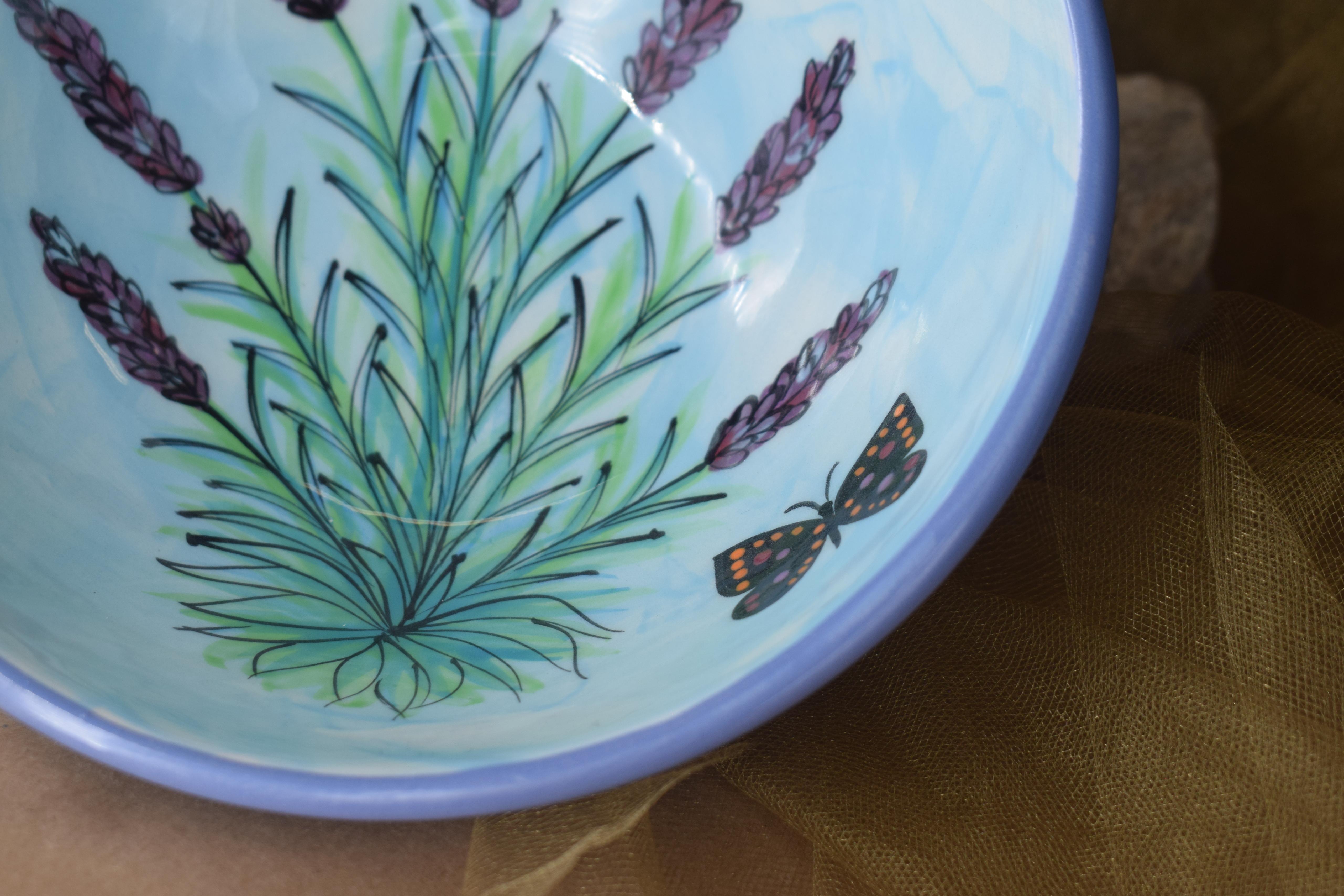 "(FRB7-EL) 7"" Footed Round Bowl- English Lavender"
