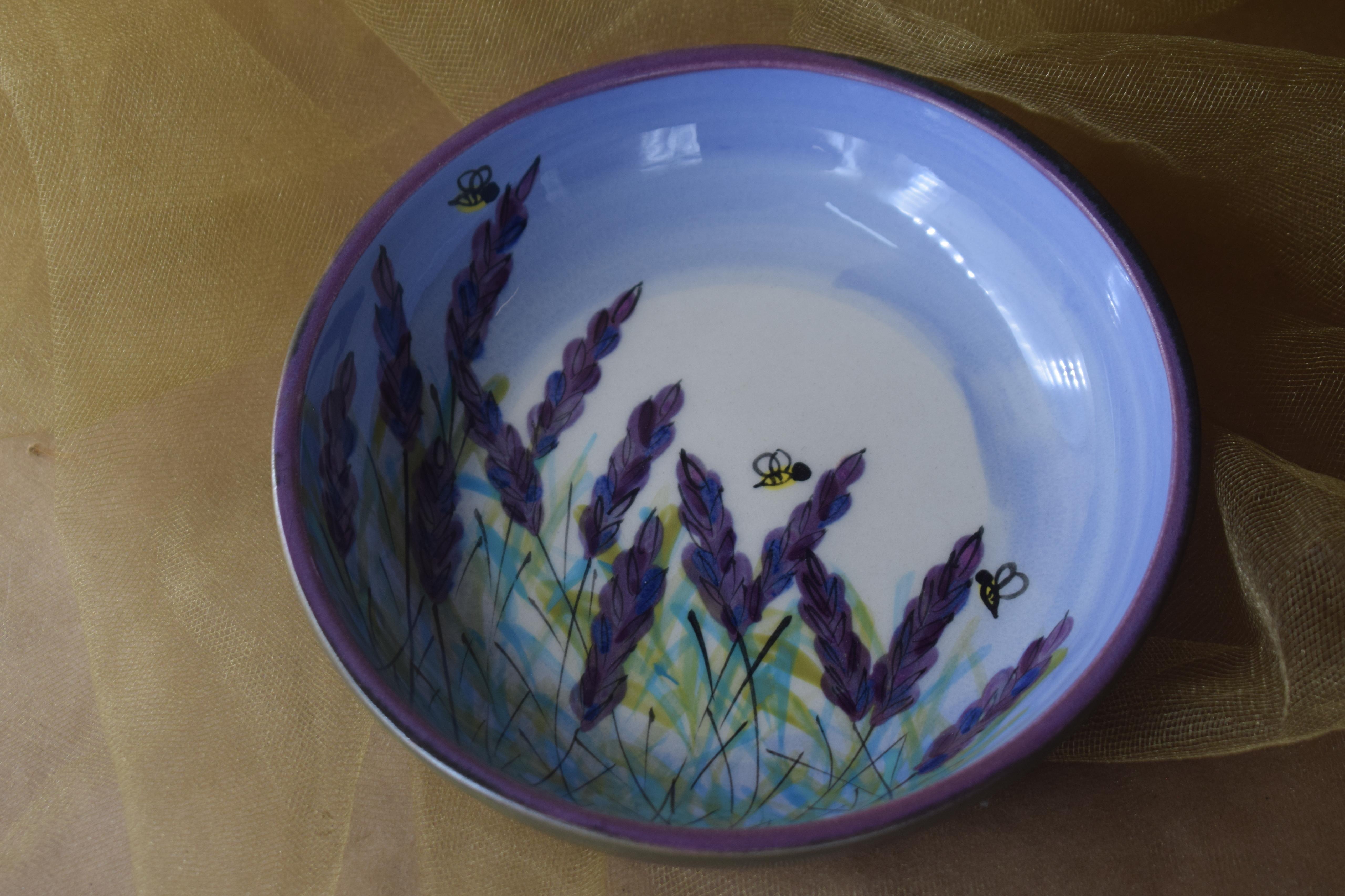 """(SHB06-LM) 6"""" Shallow Hummus Bowl- Lavender Moon"""