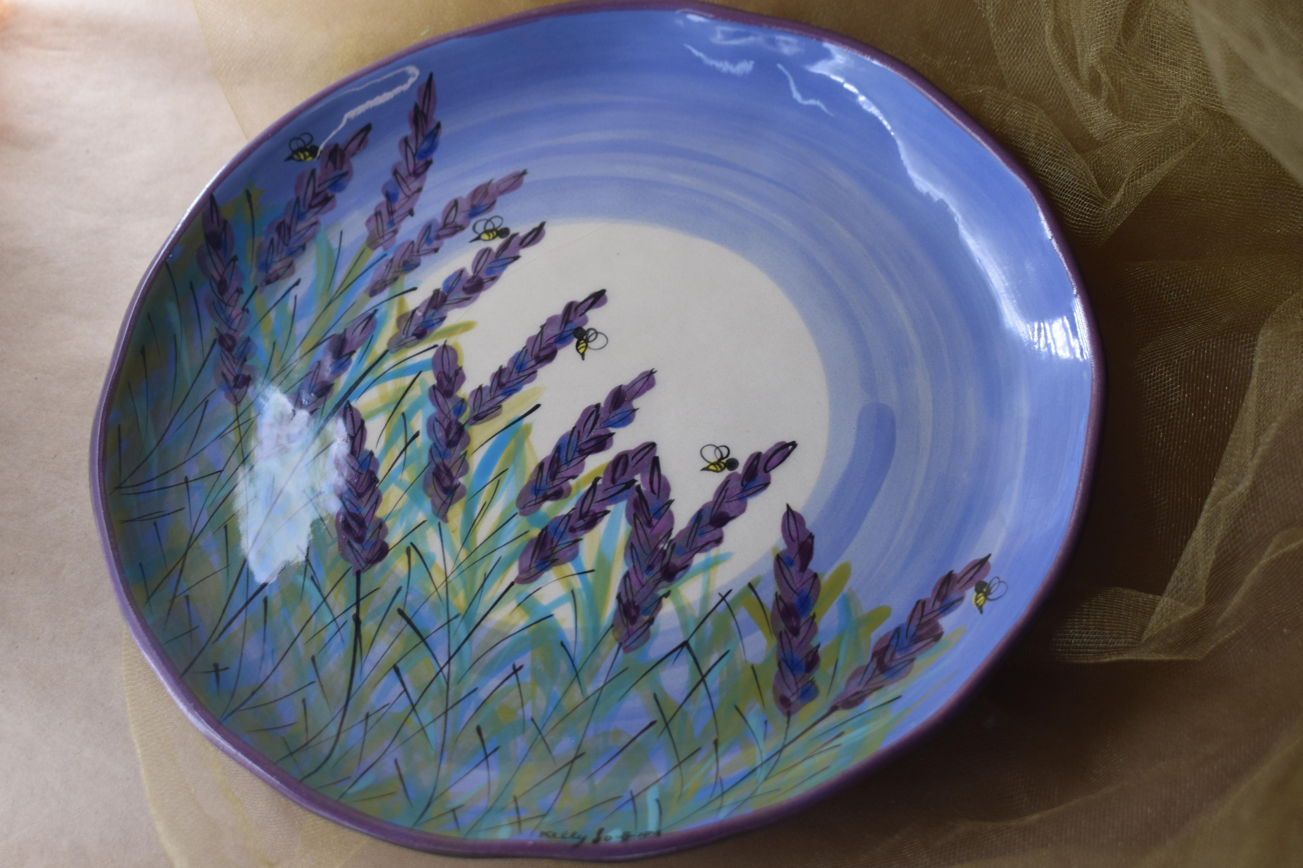 """(EDP10-LM) 10"""" Edged Dinner Plate- Lavender Moon"""