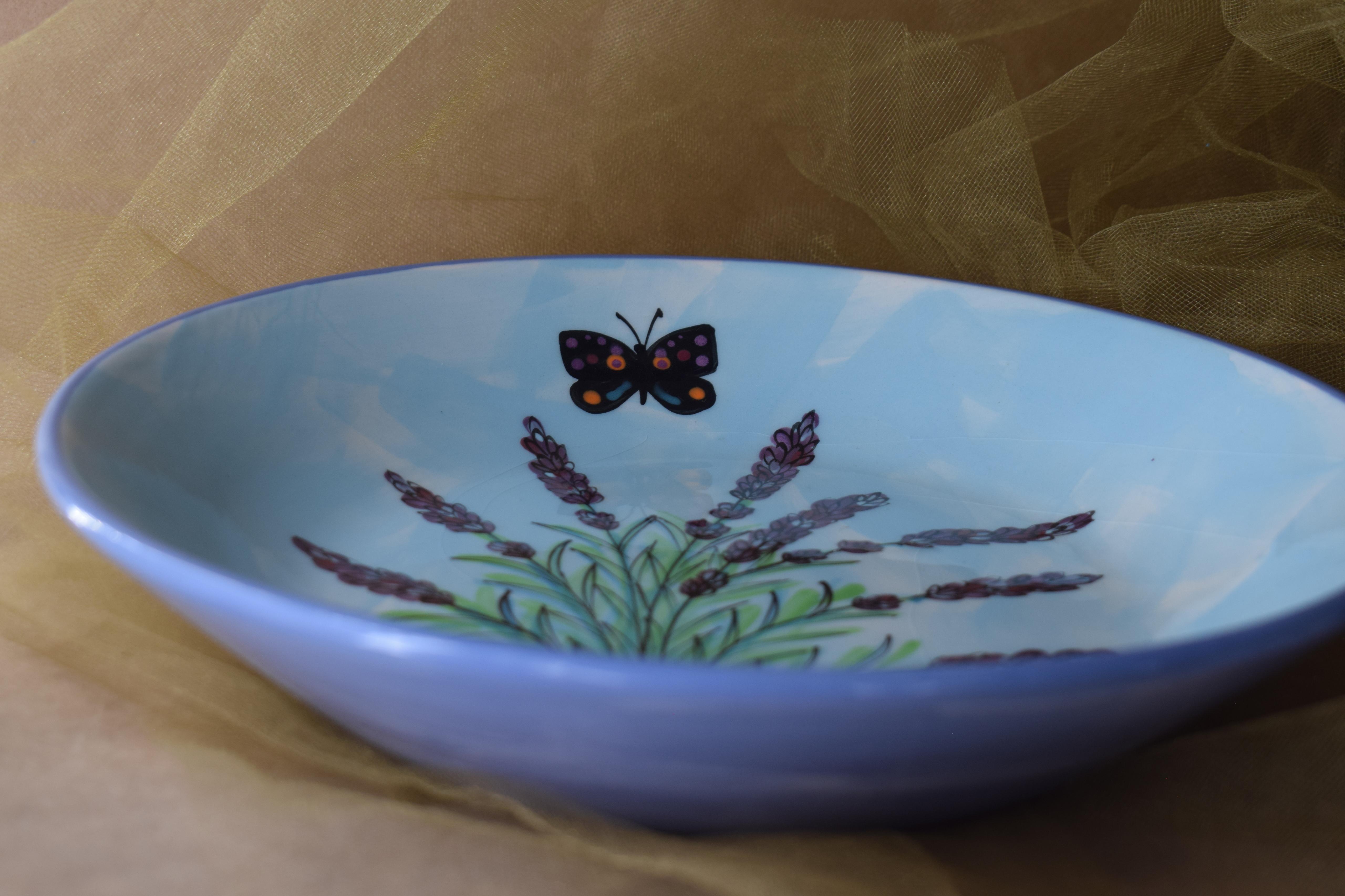 "(BI-MB10-EL) 10"" Shallow Serving Bowl-English Lavender"