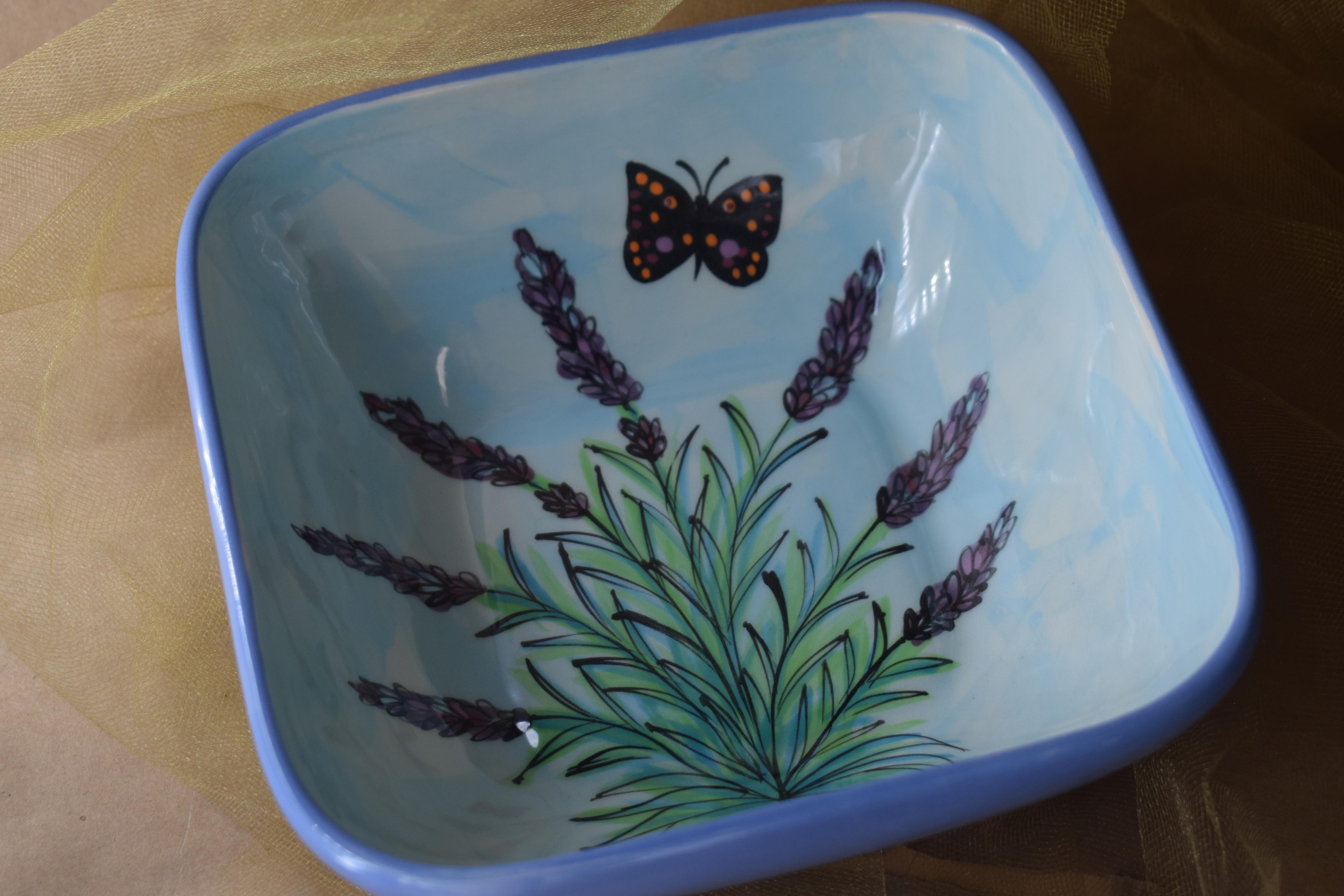 """(SB07-EL) 7"""" Square Bowl- English Lavender"""