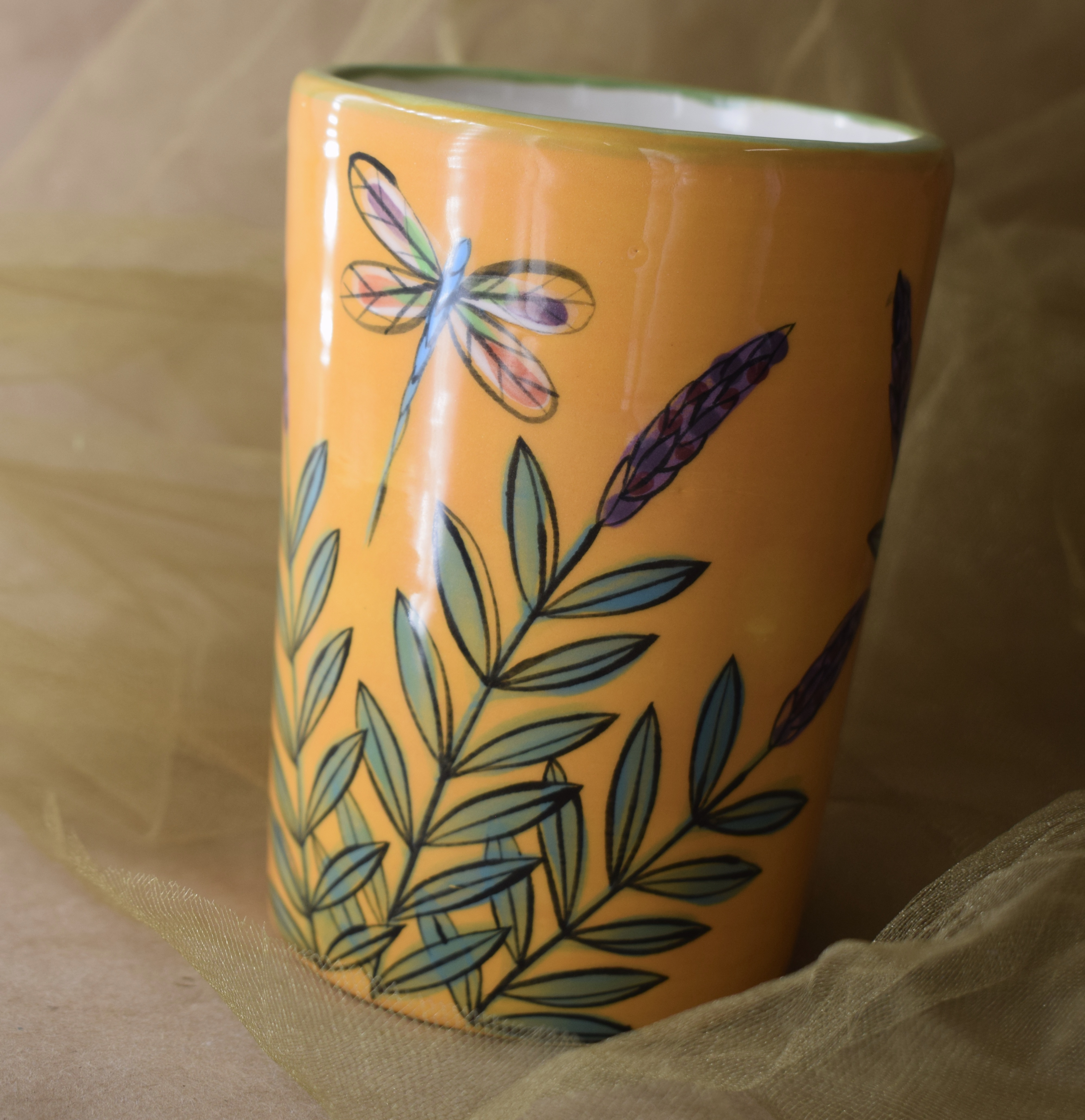 """(TB08-YLD) 5"""" Tumbler- Yellow Lavender with Dragonfly"""