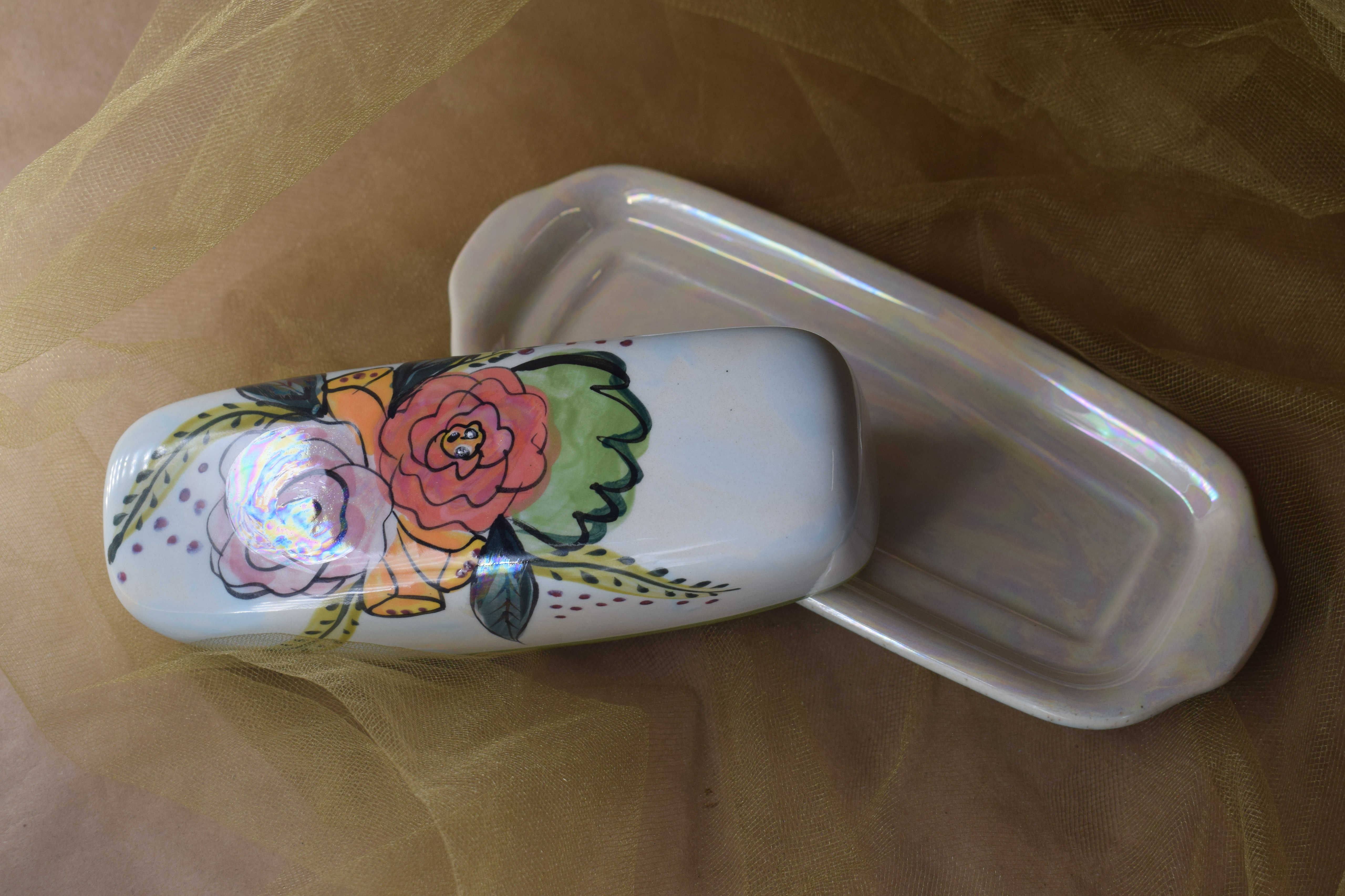 (BDLG-JF) Small Butter Dish- Jenna Floral
