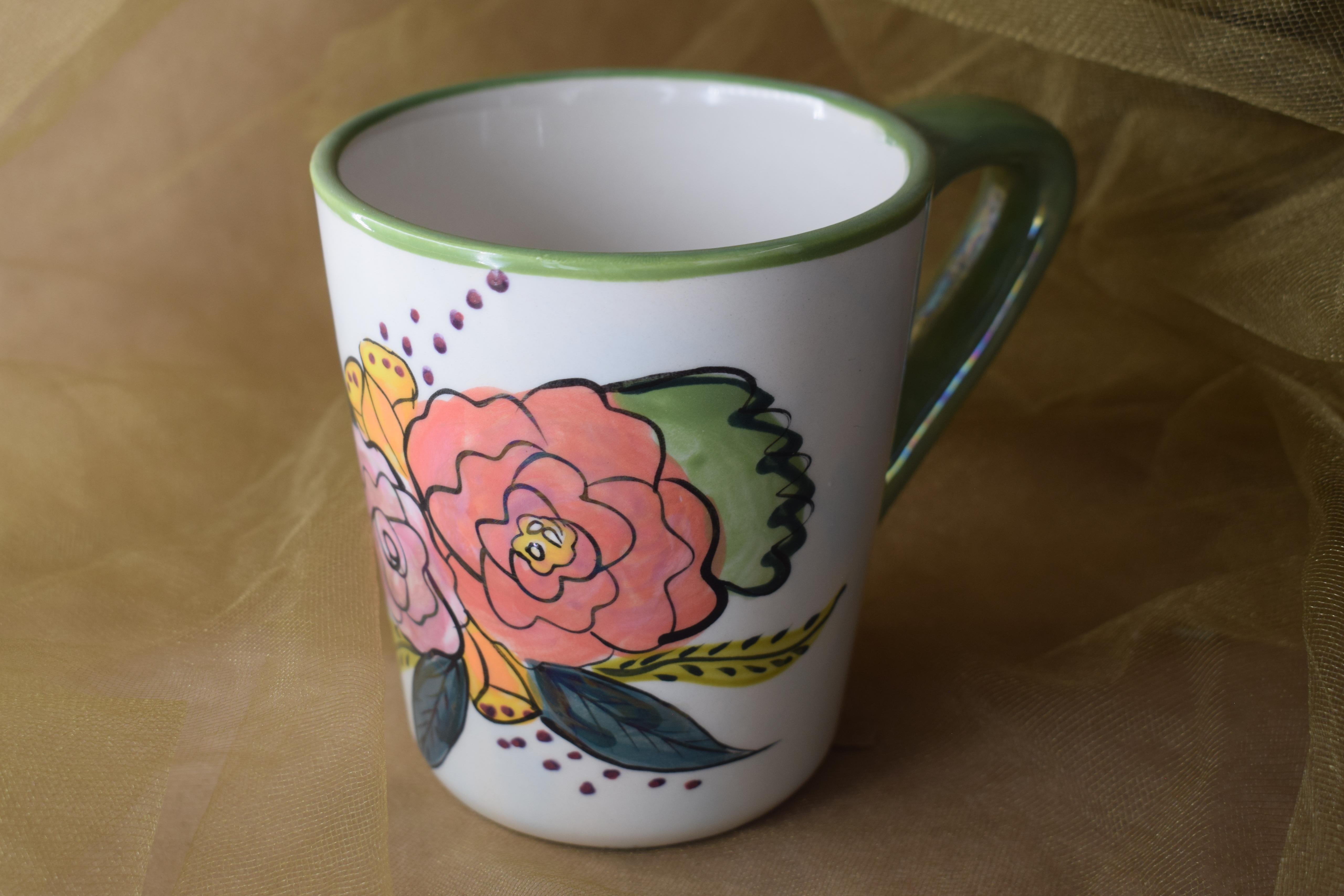 (AM04-JF) 12 oz. Angled Mug- Jenna Floral