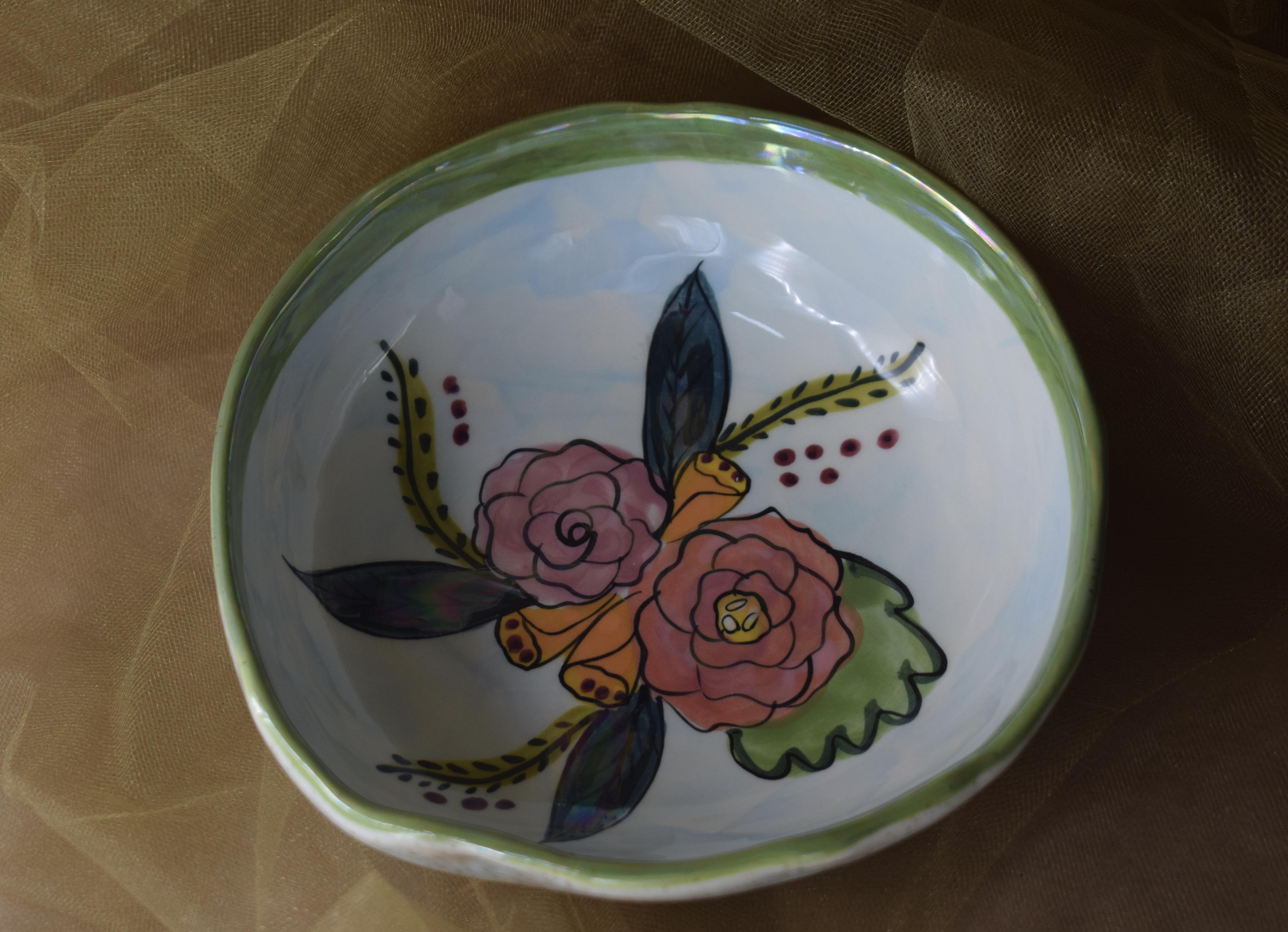 """(CB11-JFS) 7"""" Cereal Bowl- Jenna Floral"""
