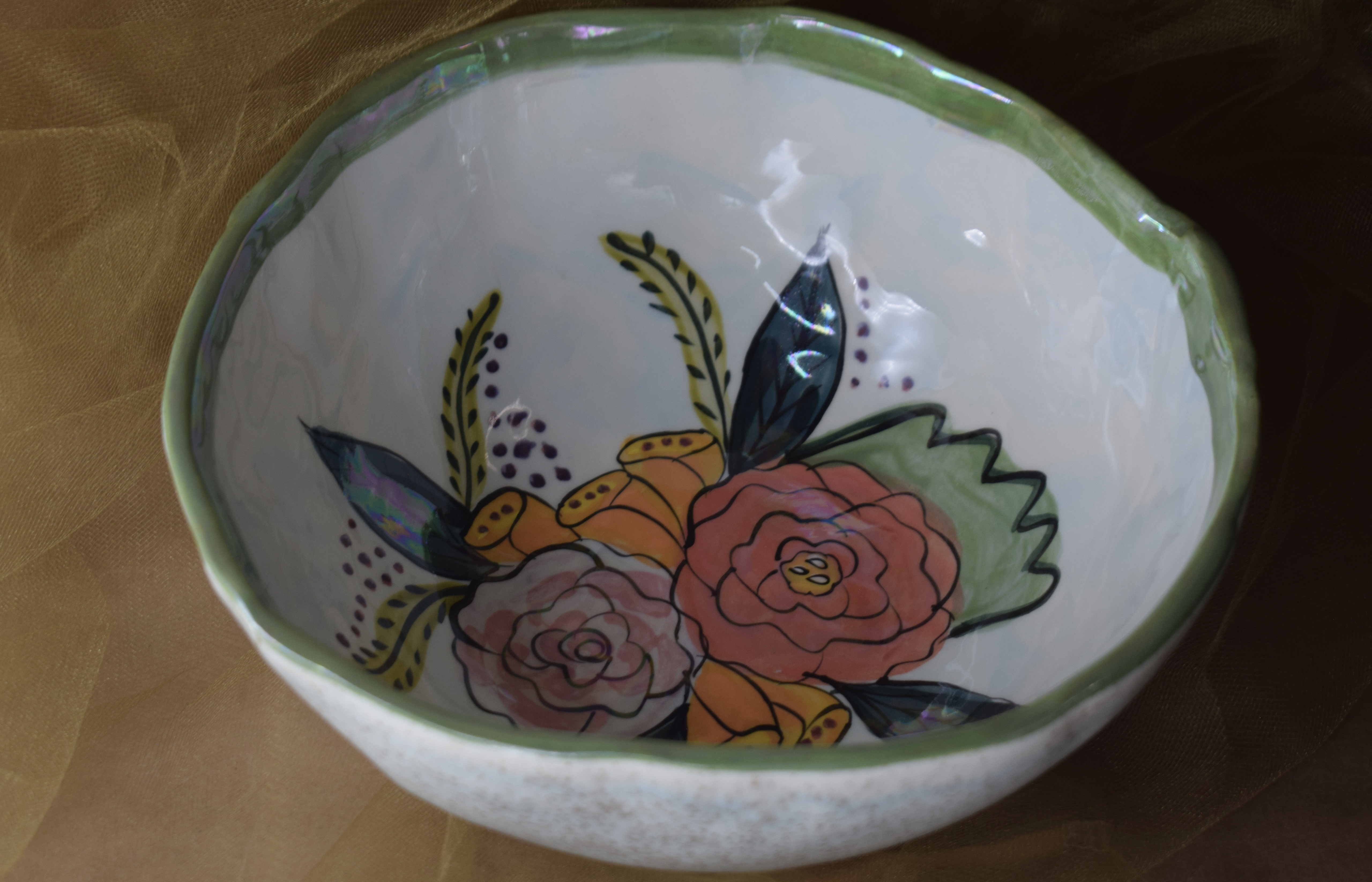 "(MB24-JF) 8"" Medium Bowl- Jenna Floral"