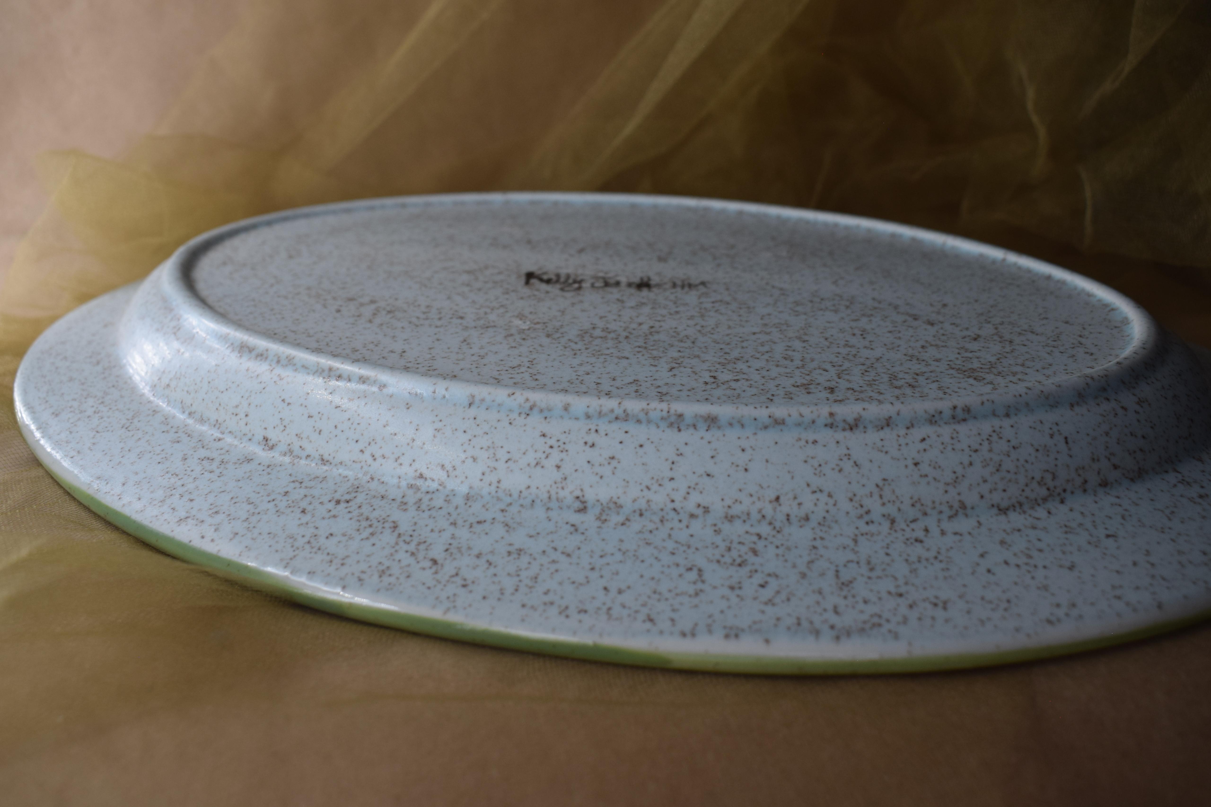"(OP15-RIM-JF) 15"" Oval Platter- Jenna Floral"
