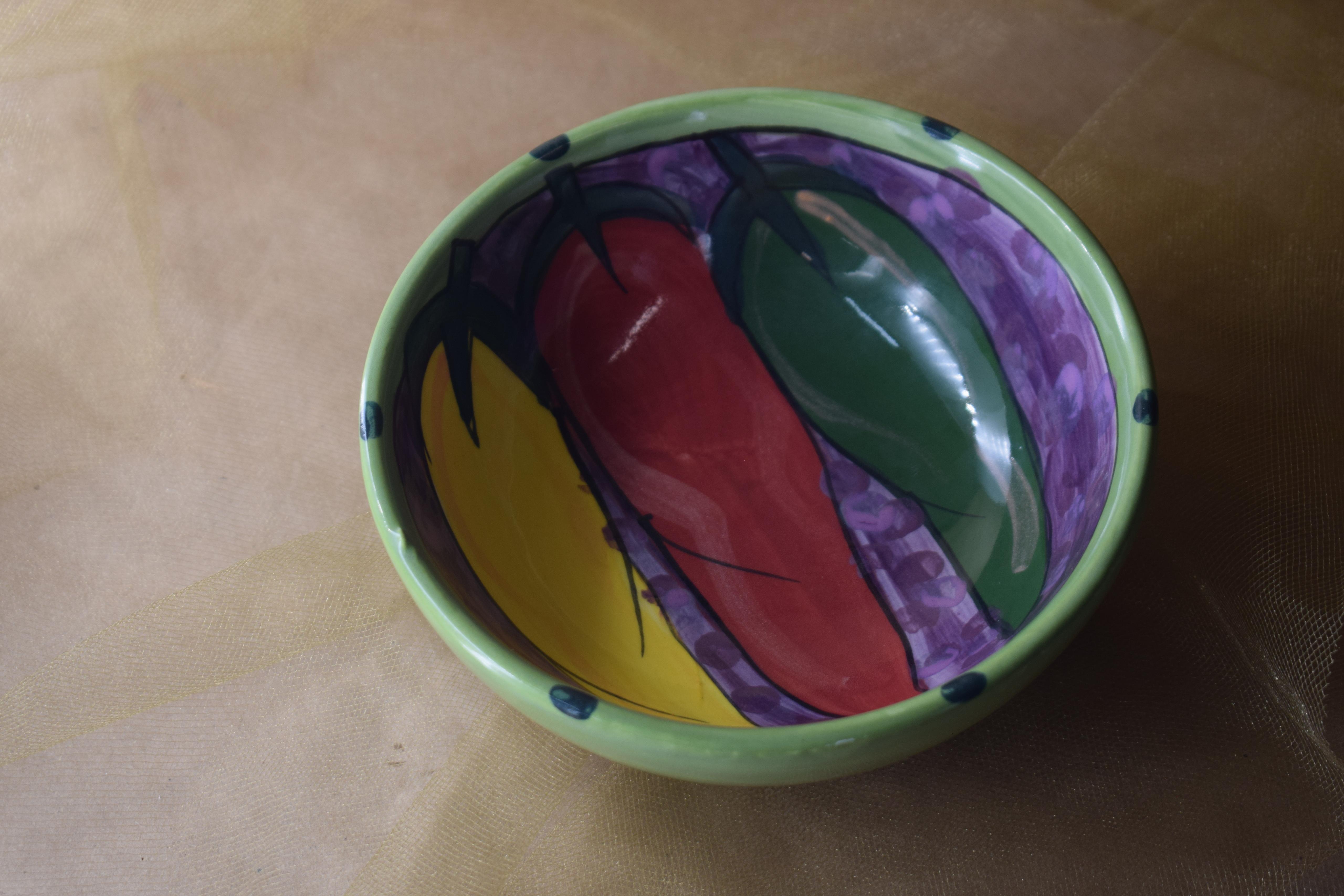 """(TFB05-CR) 5"""" Three Footed Bowl- Chile Rojo"""
