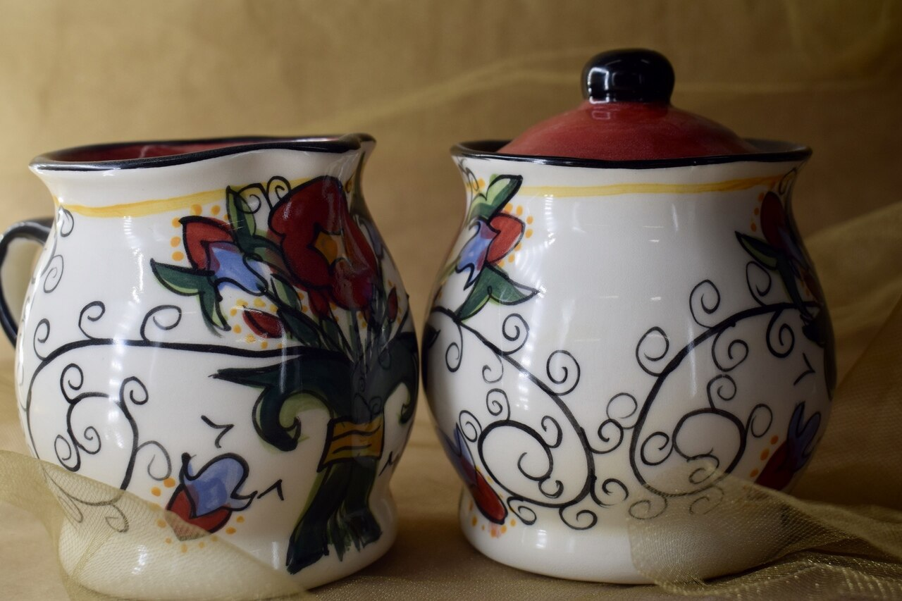 (SC30-VR) Cream and Sugar Set- Venetian Red