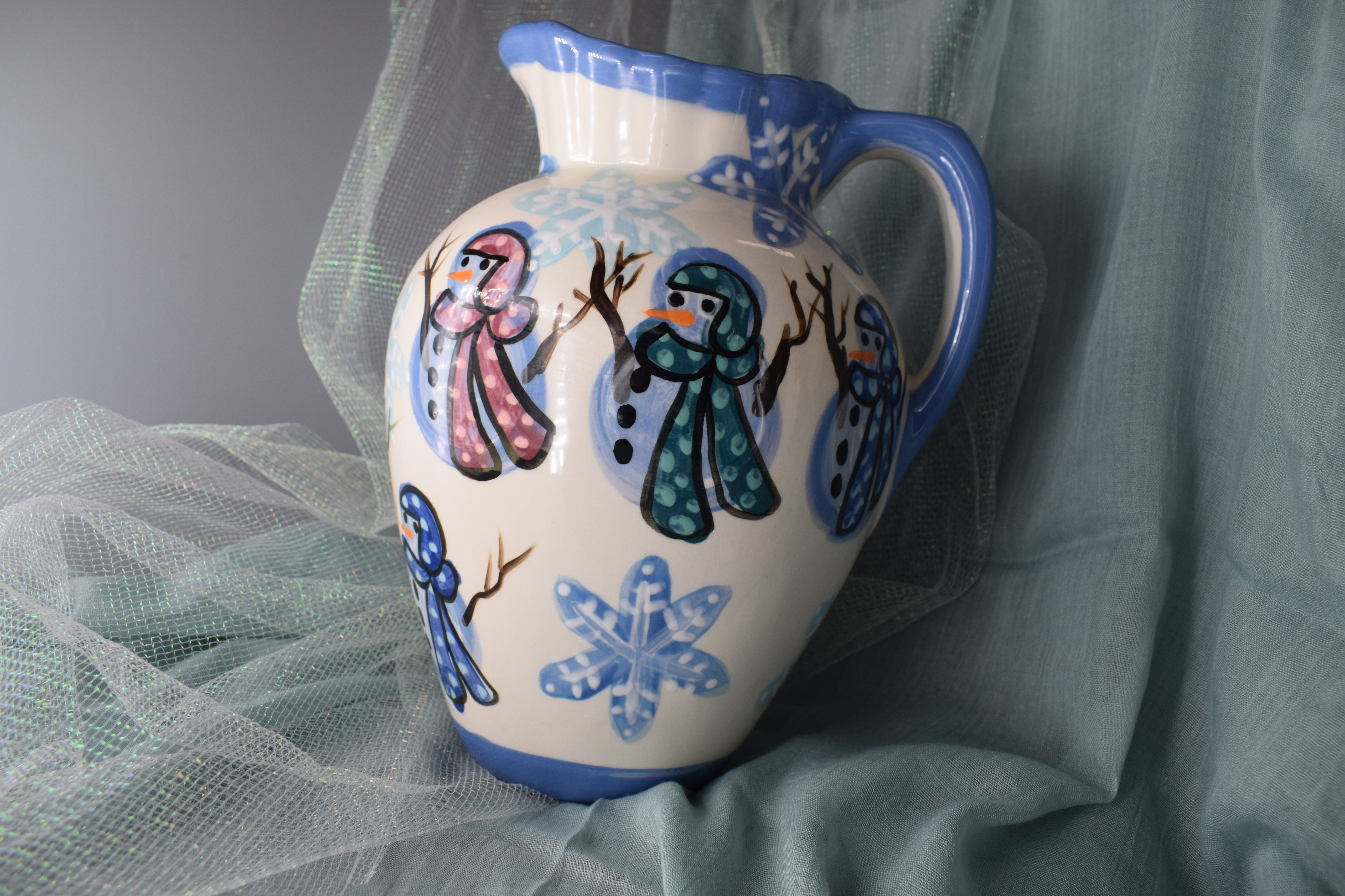 (LP03-SMSF) Large Pitcher- Snowman with Snowflakes