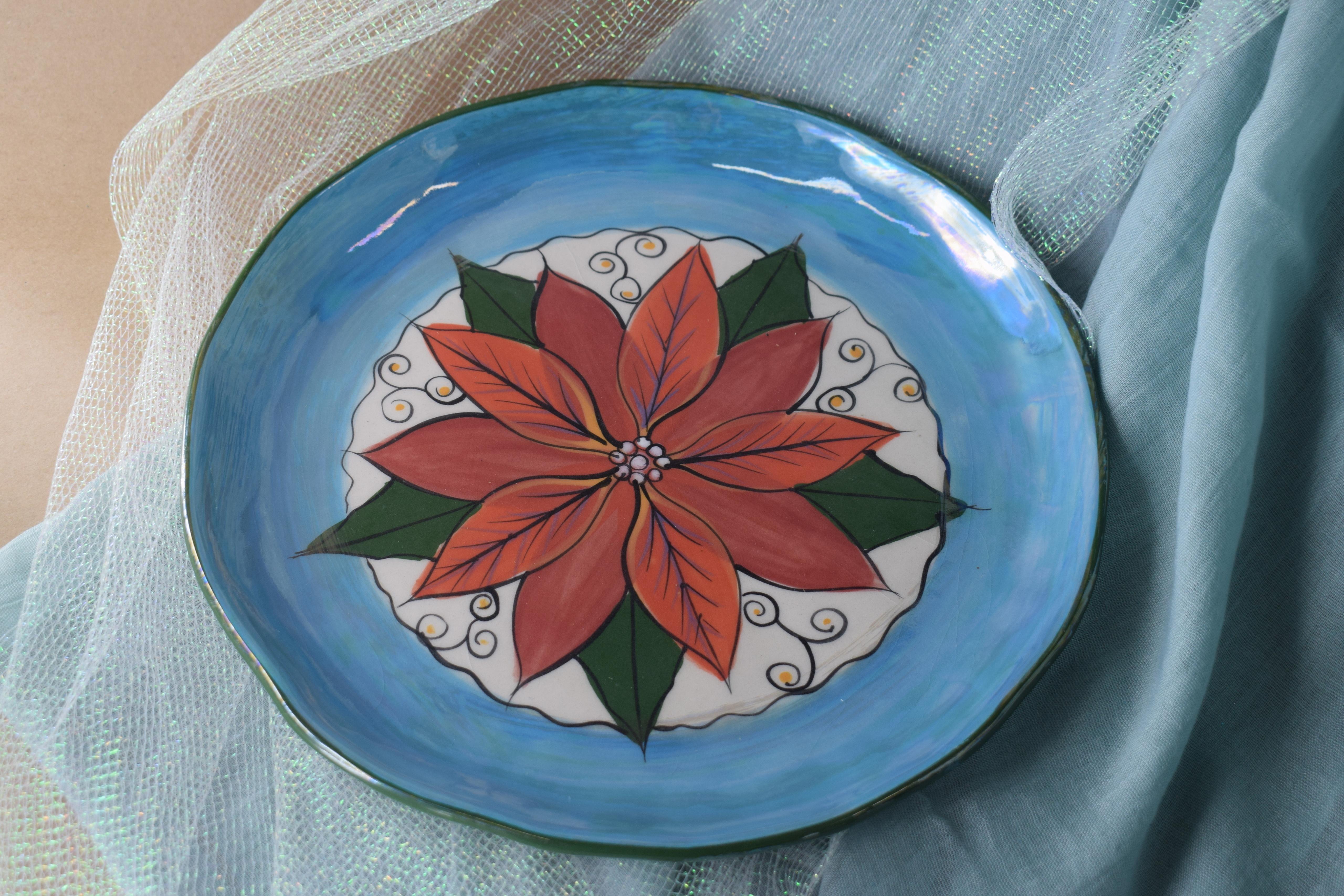 "(EDP10-PTC) 10"" Edged Dinner Plate- Poinsettia"