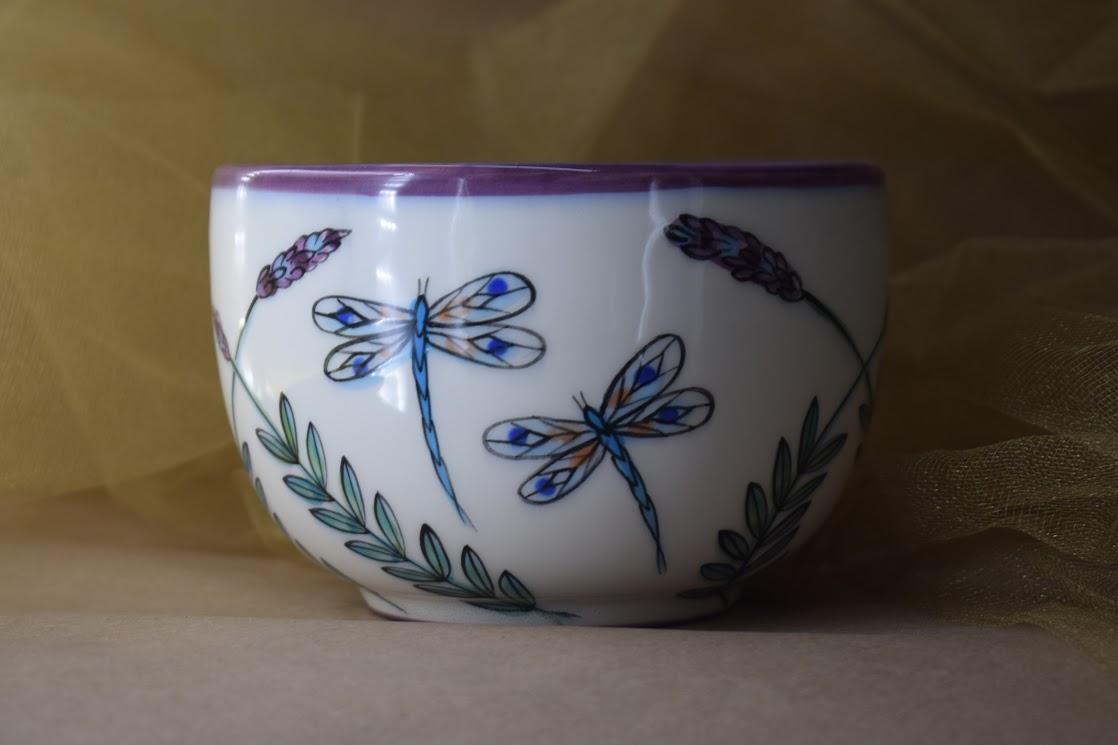 (LM16-WLD) 16oz. Latte Mug- White Lavender with Dragonfly