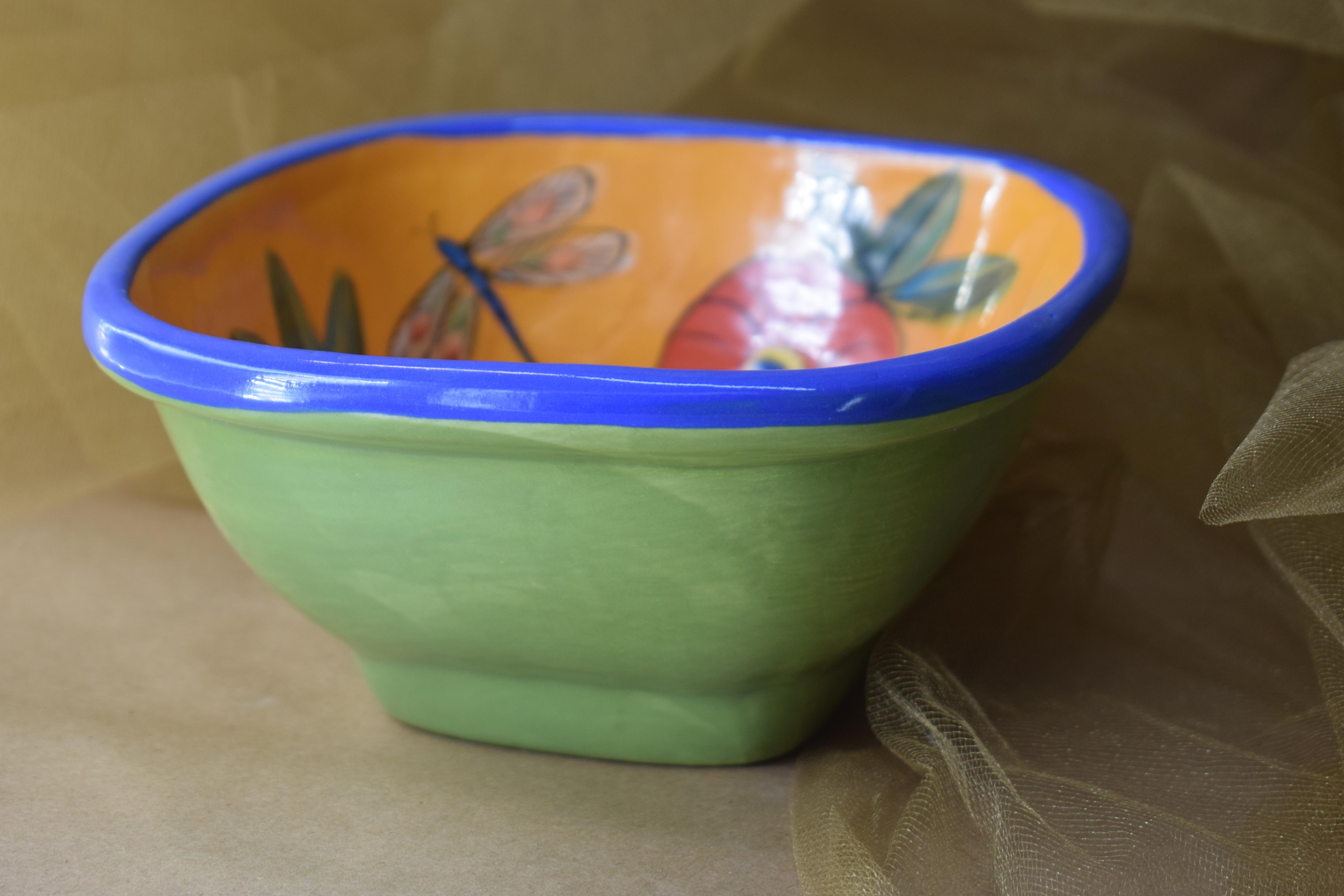 "(SB90-PP) 7"" Small Square Bowl- Poppy"