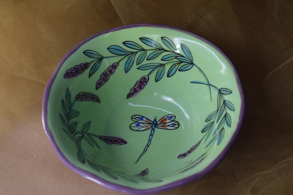 (DCB06-GLD) Deep Cereal Bowl- Green Lavender with Dragonfly