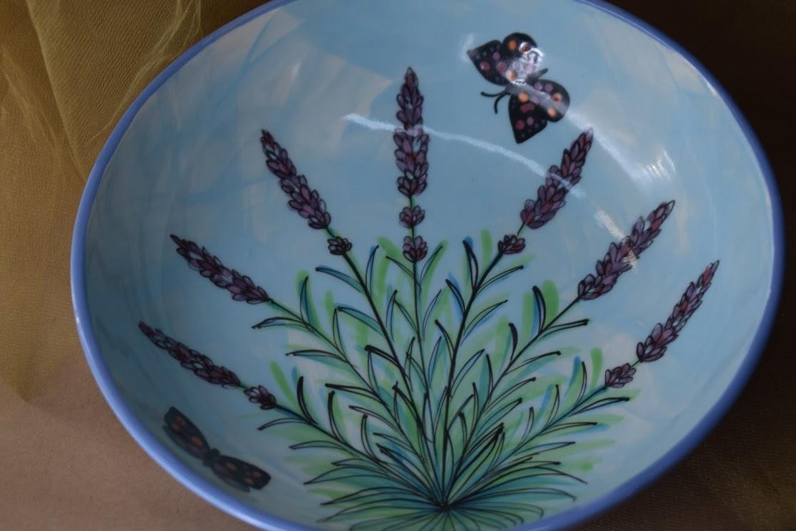 """(SB09-EL) 9"""" Shallow Bowl- English Lavender"""