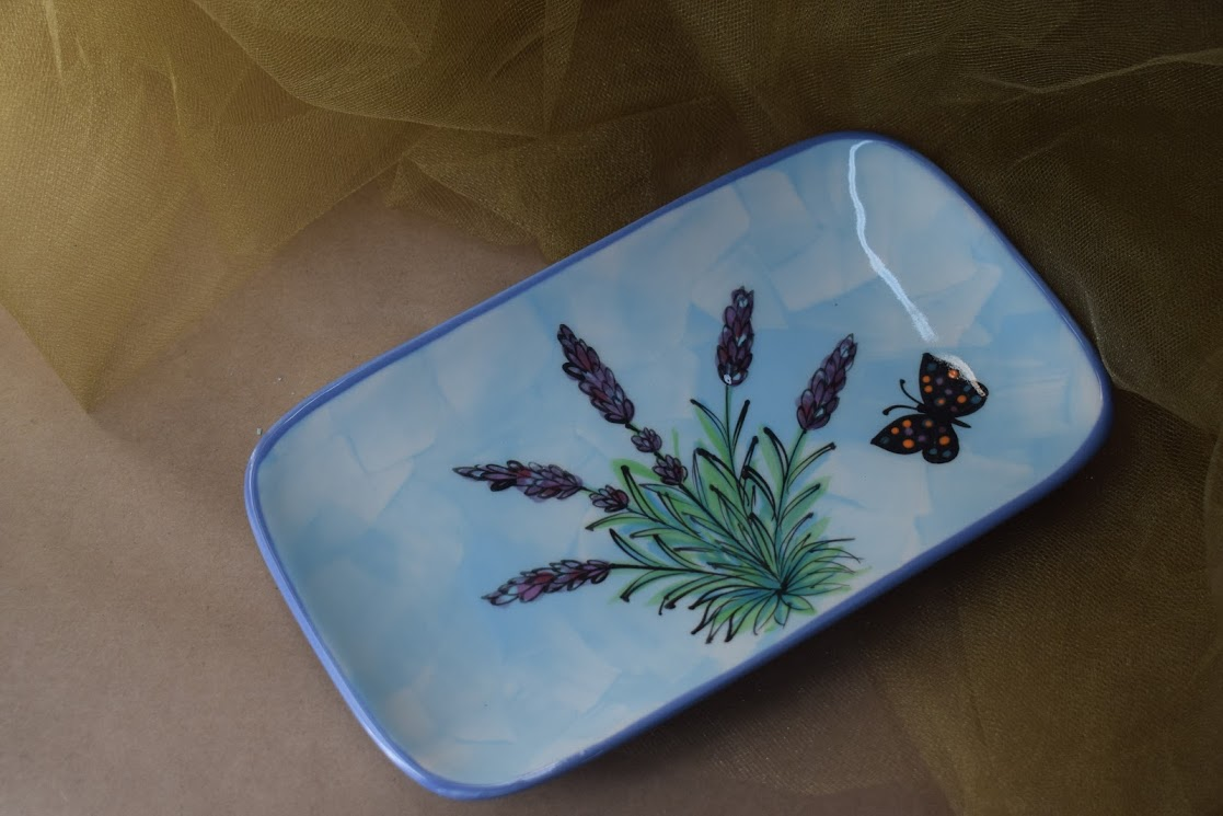 "(RP08-EL) 8"" Rectangular Plate- English Lavender"