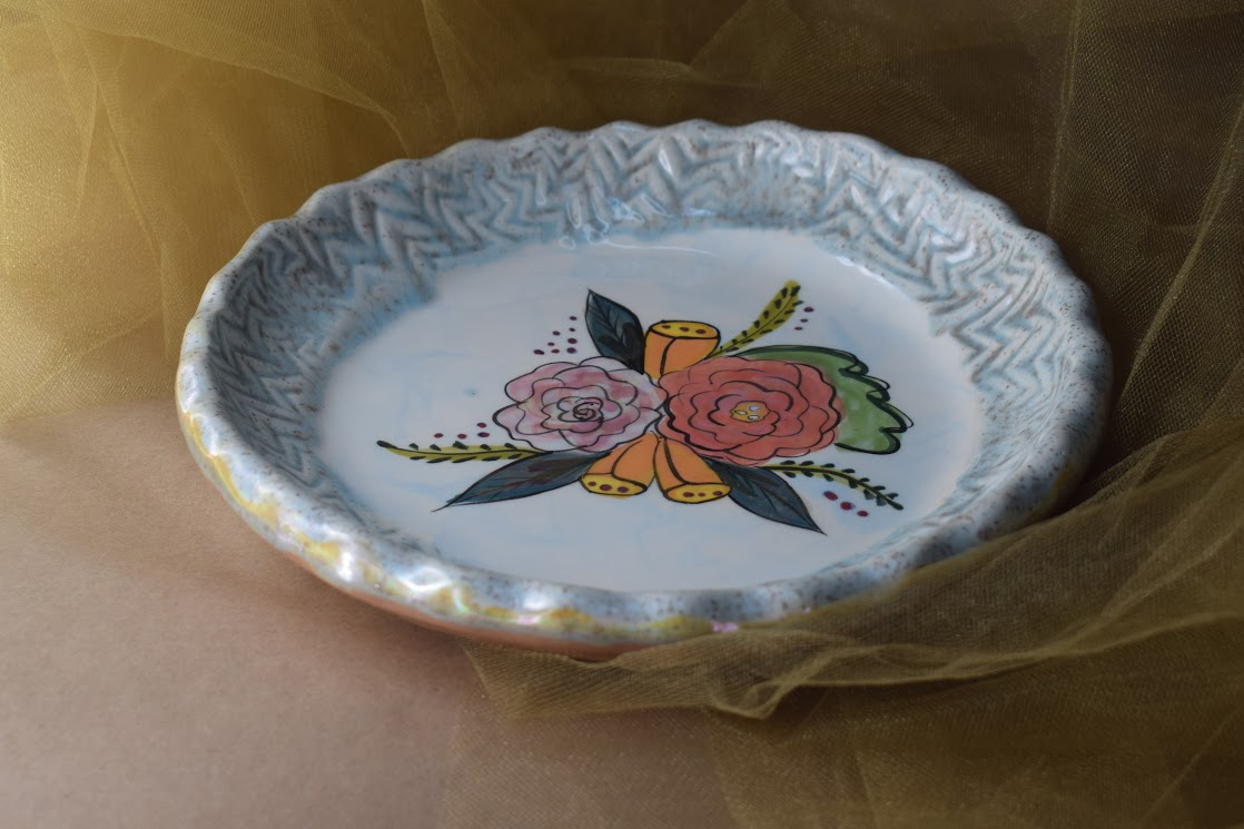 """(RF10-S-JF) 9"""" Round Quiche Plate- Special- Jenna Floral"""