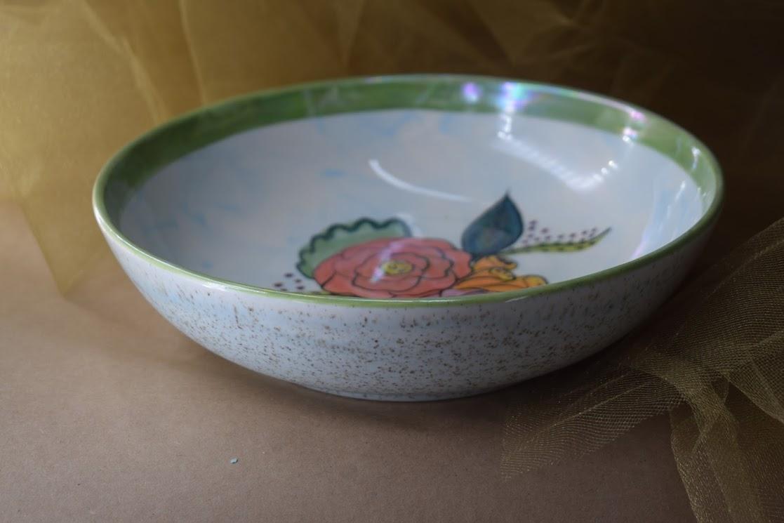 "(SB09-JF) 9"" Shallow Bowl- Jenna Floral"