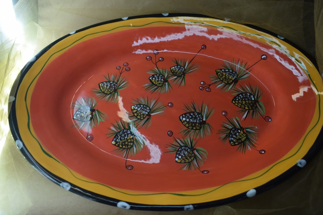 "(OP19-PCR) 14"" x 20"" Oval Platter- Pinecone Red"