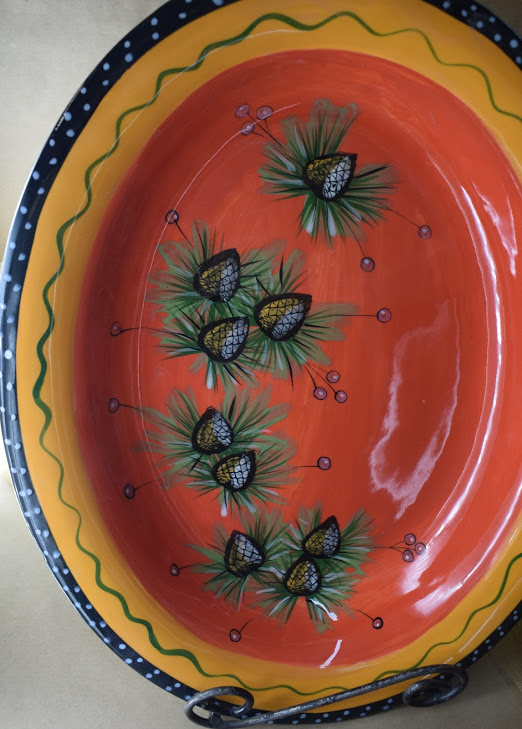 """(OB16-PCR) 16"""" Oval Bowl- Pinecone Red"""