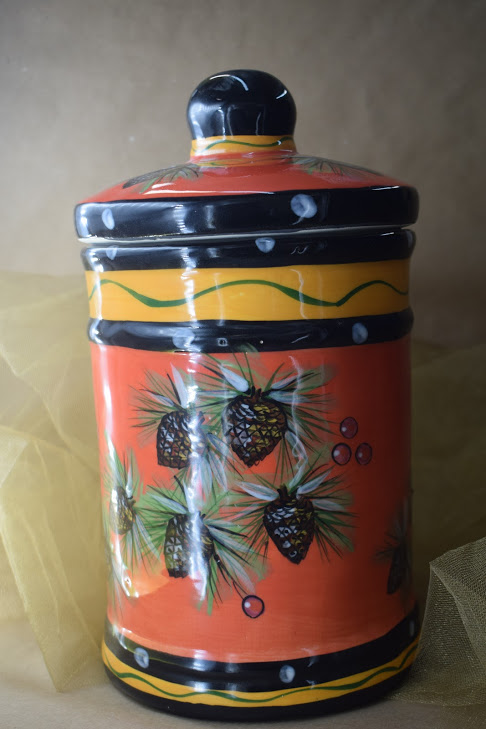 (LC10-PCR) Large Canister- Pinecone Red