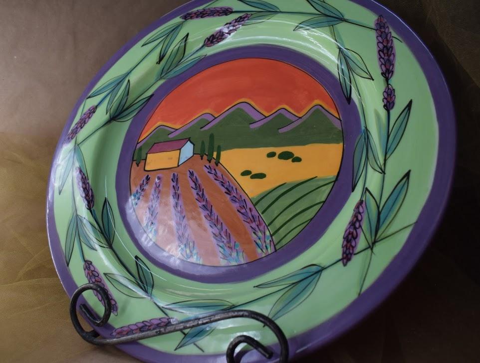 "(DP14-GLS) 14"" Charger Plate- Green Lavender Scene"