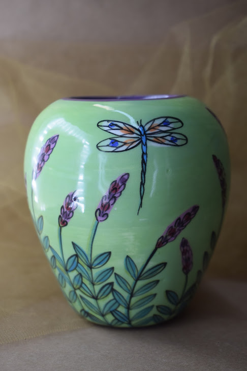 (SV21-GLD) Small Vase- Green Lavender with Dragonfly