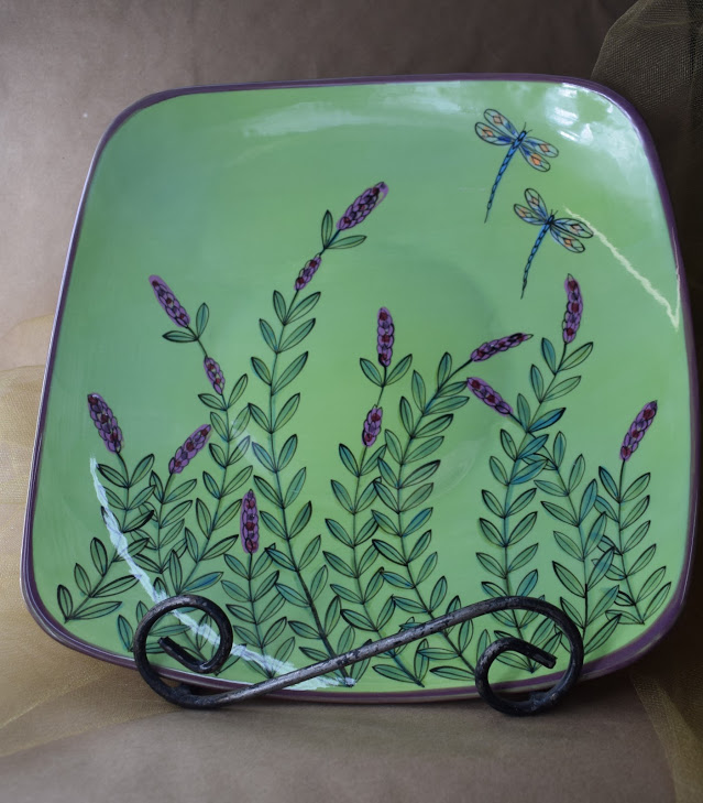 (SP11BI-GLD) Square Plate- Green Lavender with Dragonfly