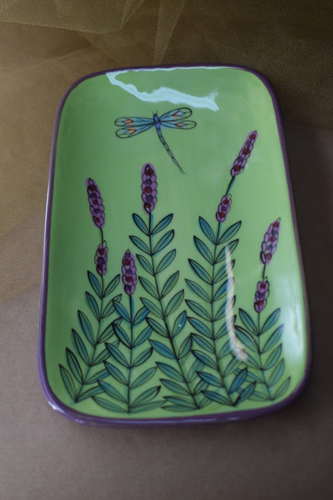 """(RP08-GLD) 8"""" Rectangular Plate- Green Lavender with Dragonfly"""