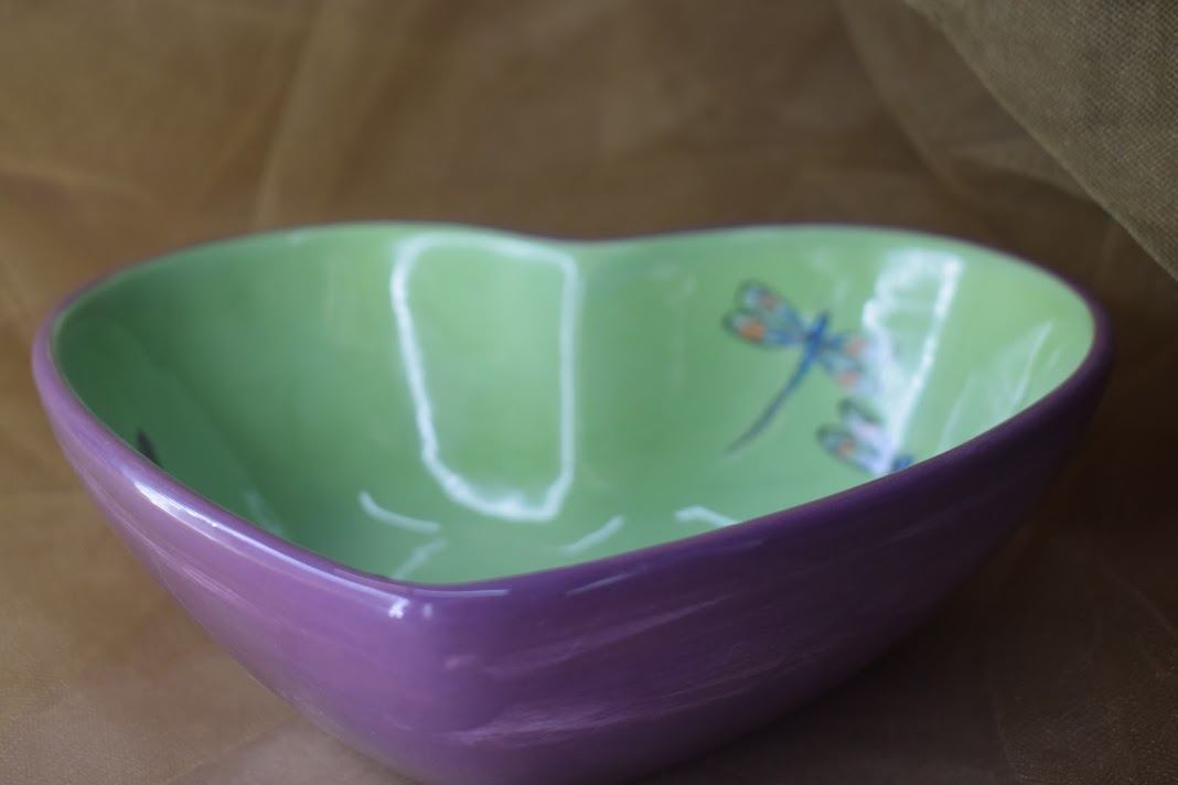 (DHB22-GLD) Deep Heart Bowl- Green Lavender with Dragonfly