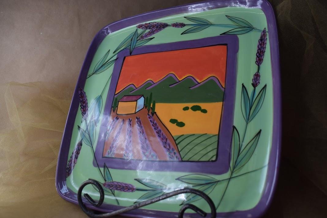 (SP11BI-GLS) Square Plate- Green Lavender Scene