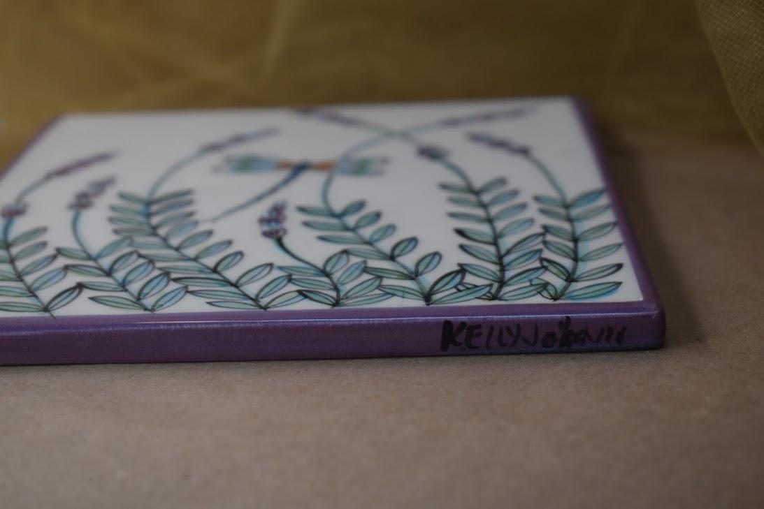 "(ST07-WLD) 6"" Square Trivet- White Lavender with Dragonfly"