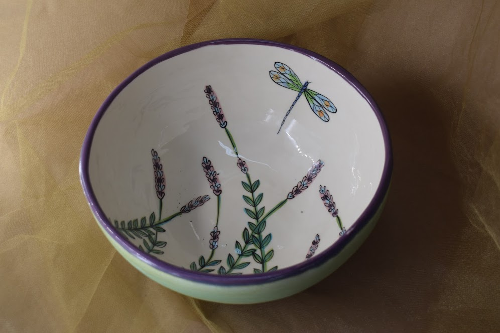 """(MB24-WLD) 8"""" Medium Bowl- White Lavender with Dragonfly"""