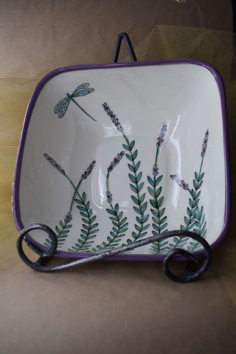 (DSB24-WLD) Deep Square Bowl- White Lavender with Dragonfly